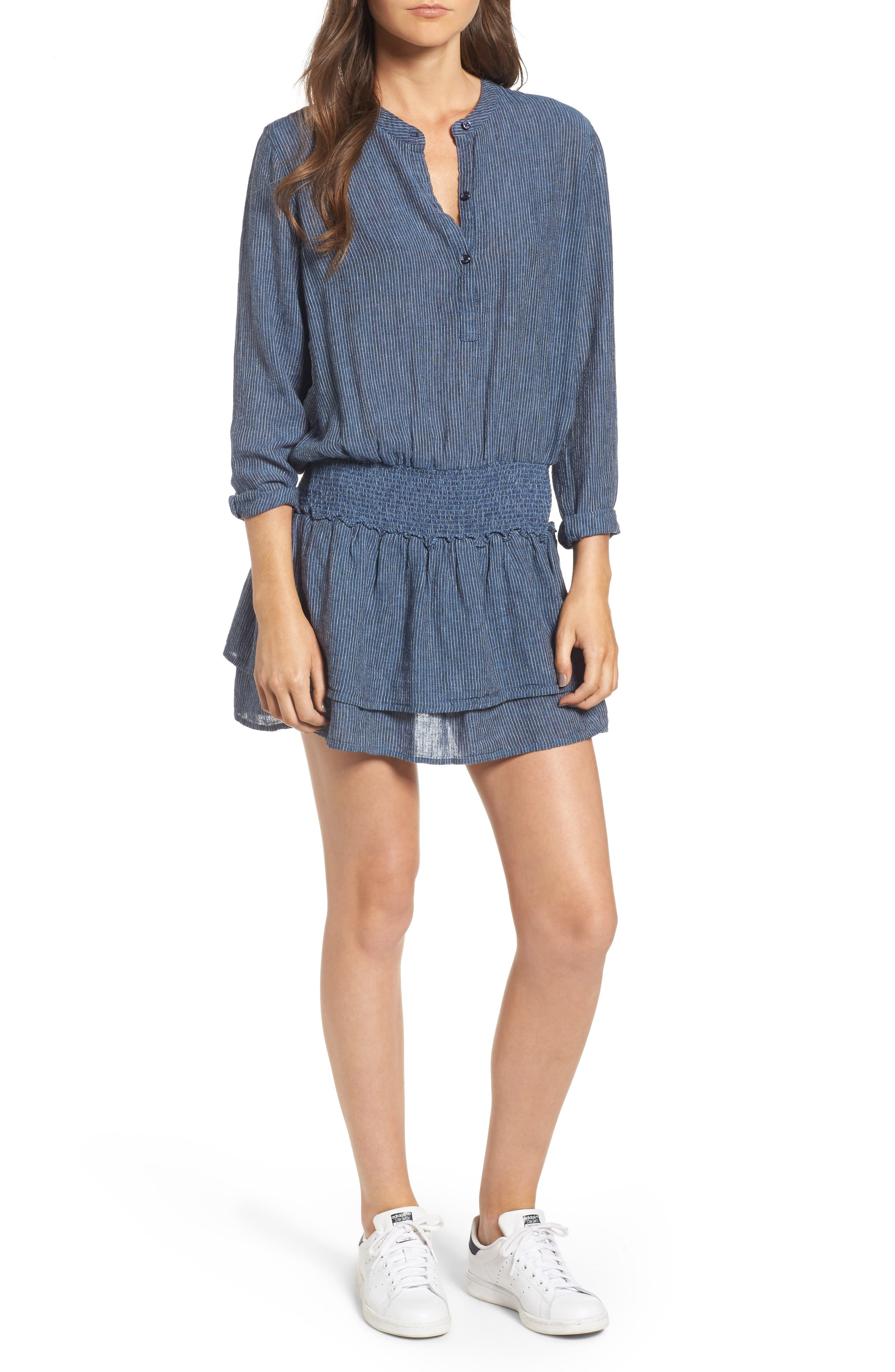 Juliette Linen Blend Dress,                         Main,                         color, 400
