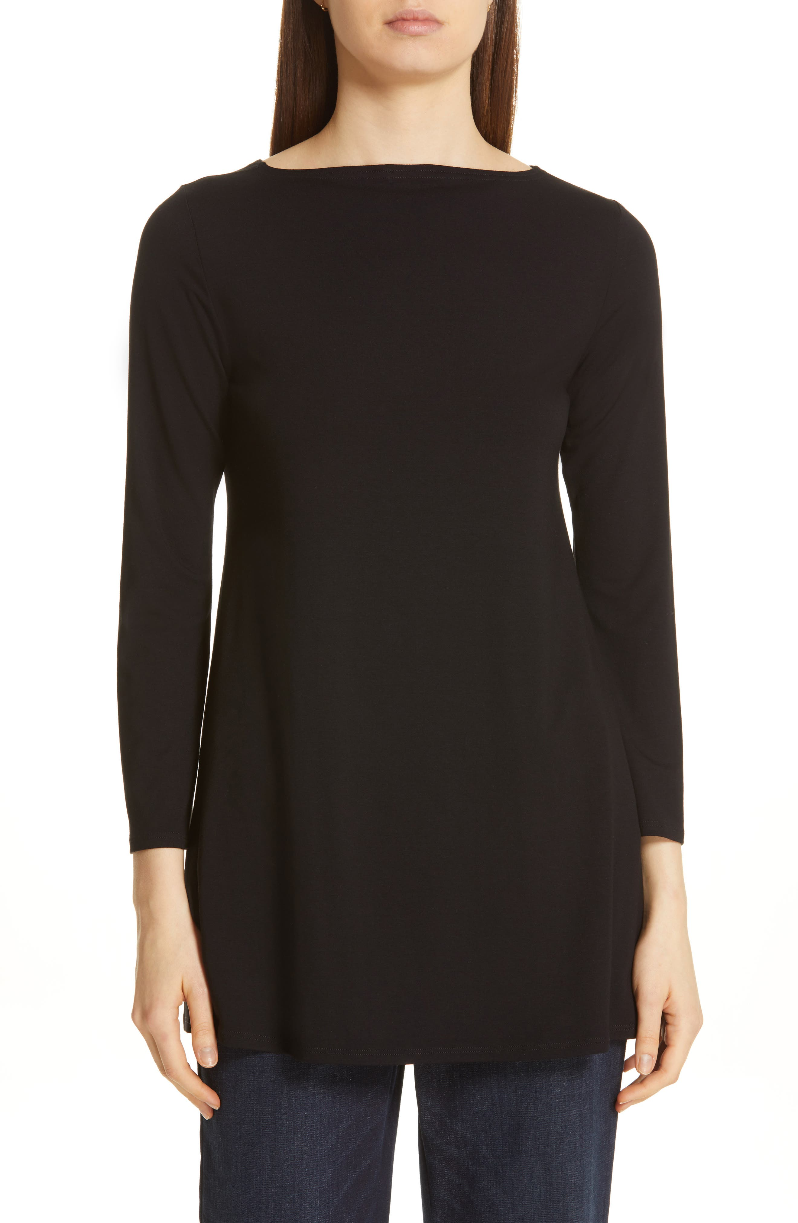EILEEN FISHER, Jewel Neck Tunic Top, Main thumbnail 1, color, 001