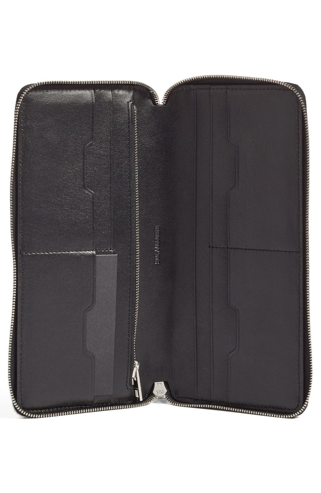 Leather Zip Around Wallet,                             Alternate thumbnail 2, color,                             001