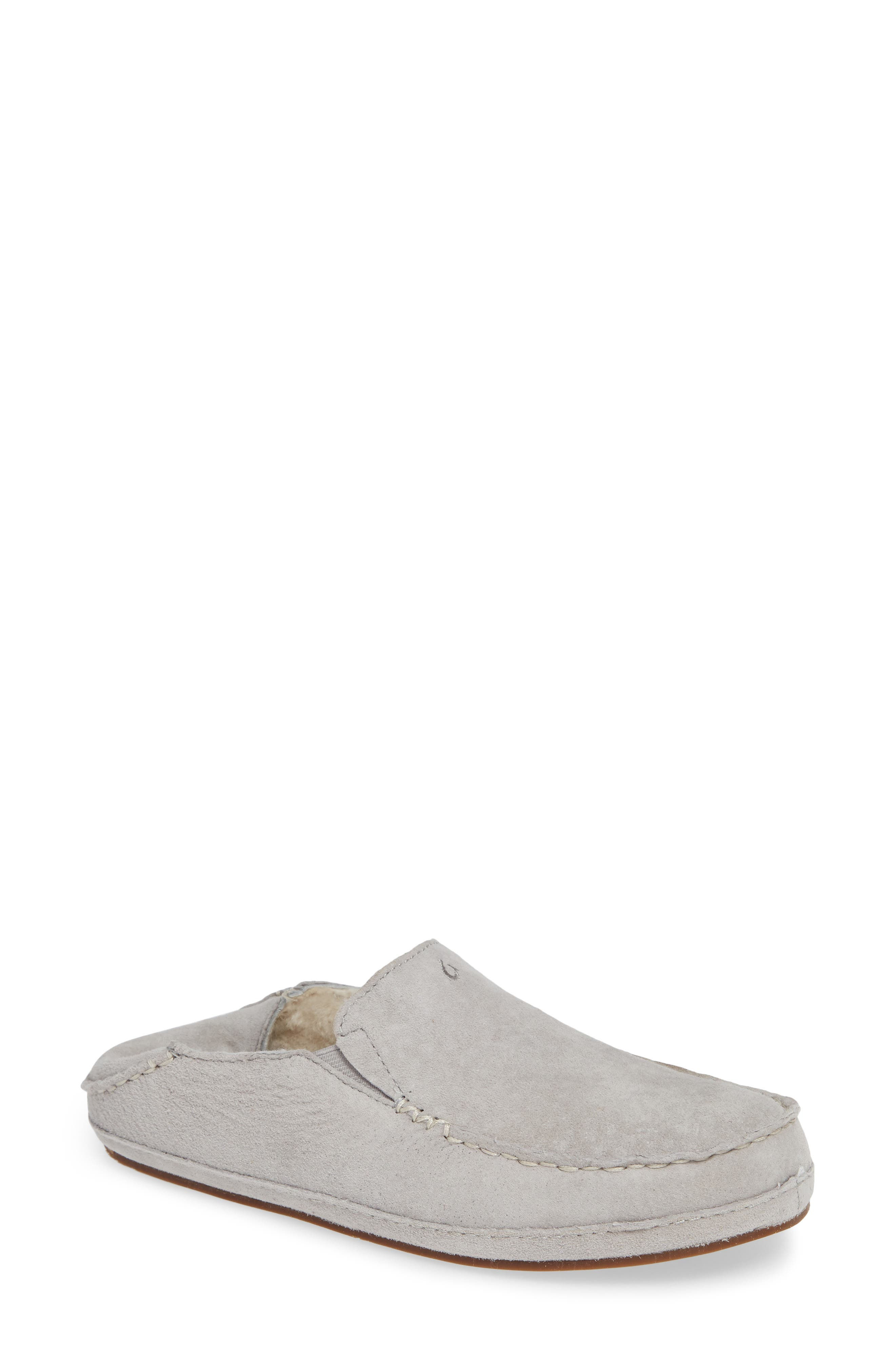 Nohea Nubuck Slipper,                             Main thumbnail 1, color,                             PALE GREY/ PALE GREY LEATHER