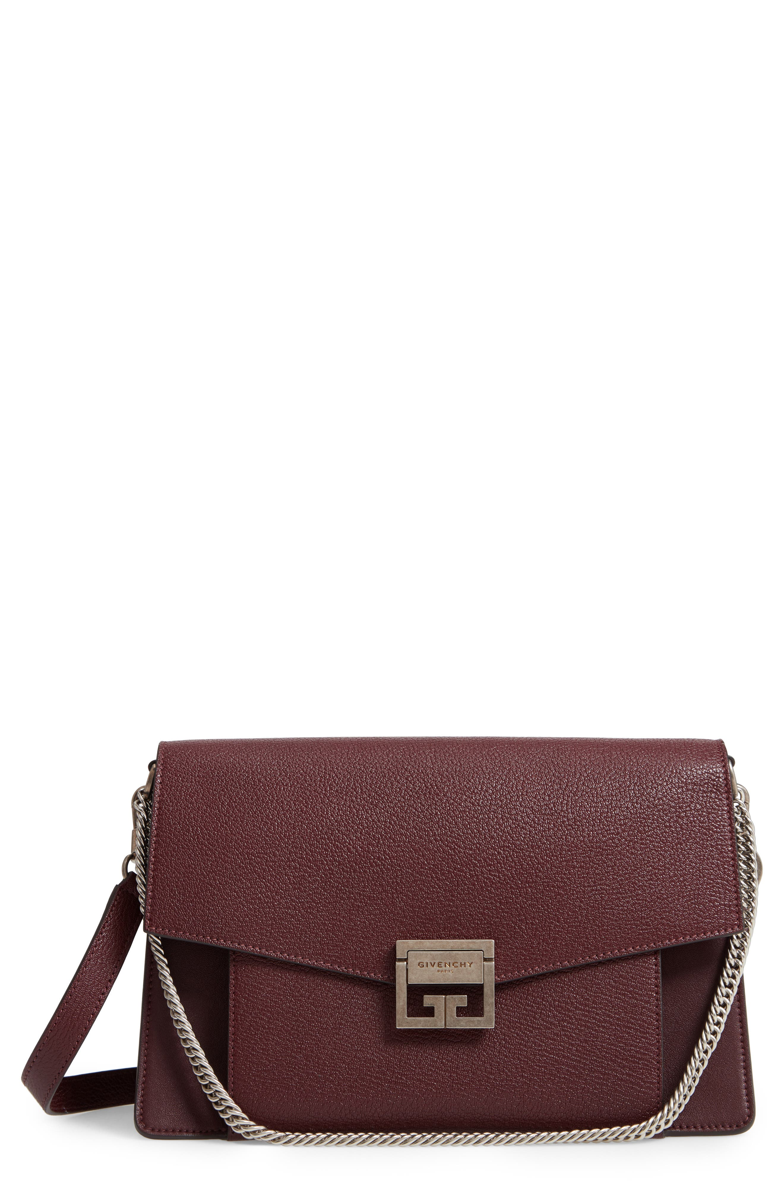 GV3 Goatskin Leather Shoulder Bag,                             Main thumbnail 1, color,                             AUBERGINE