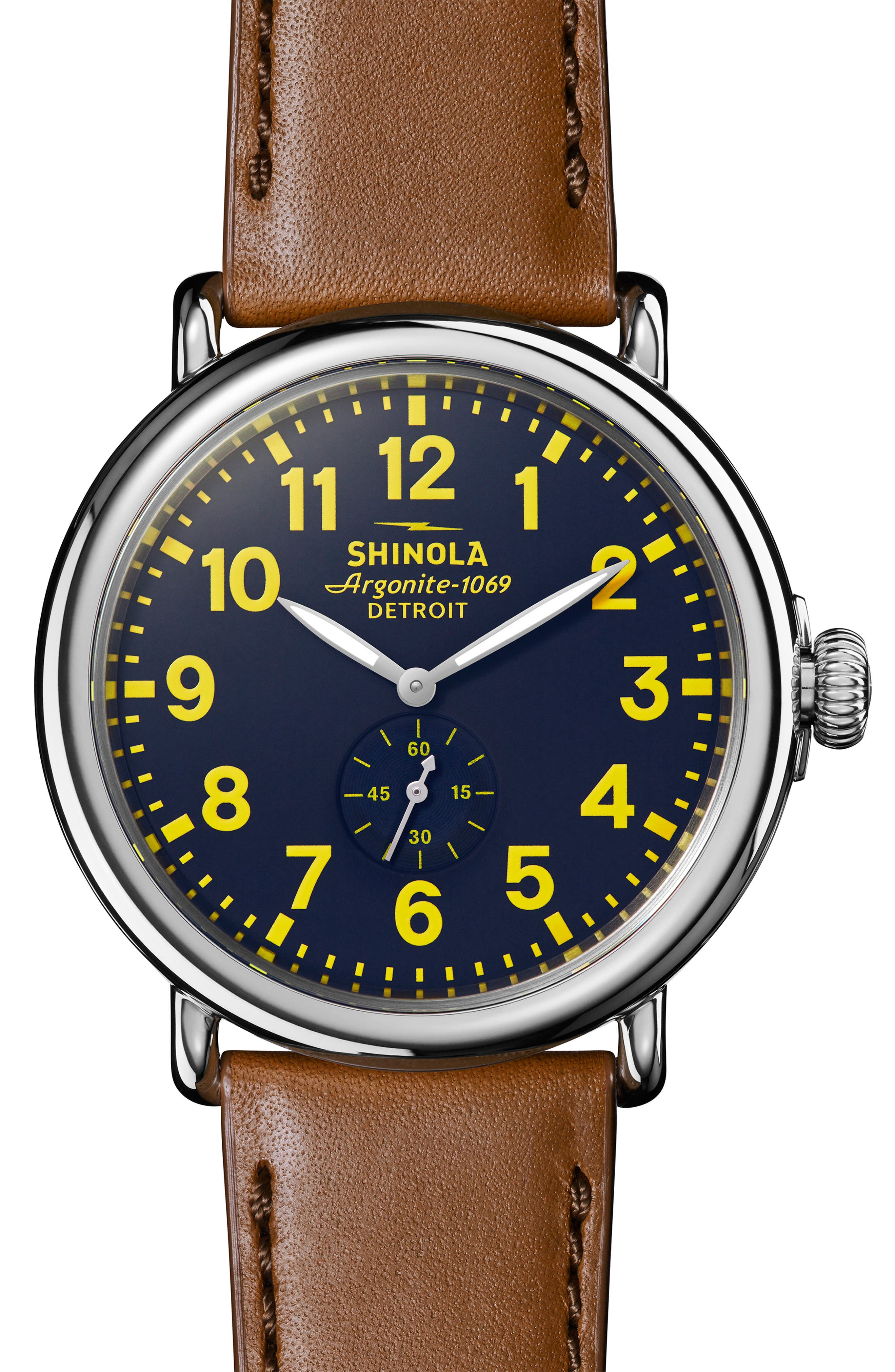'The Runwell' Leather Strap Watch, 47mm,                         Main,                         color, TAN/ COLLEGIATE BLUE/ SILVER