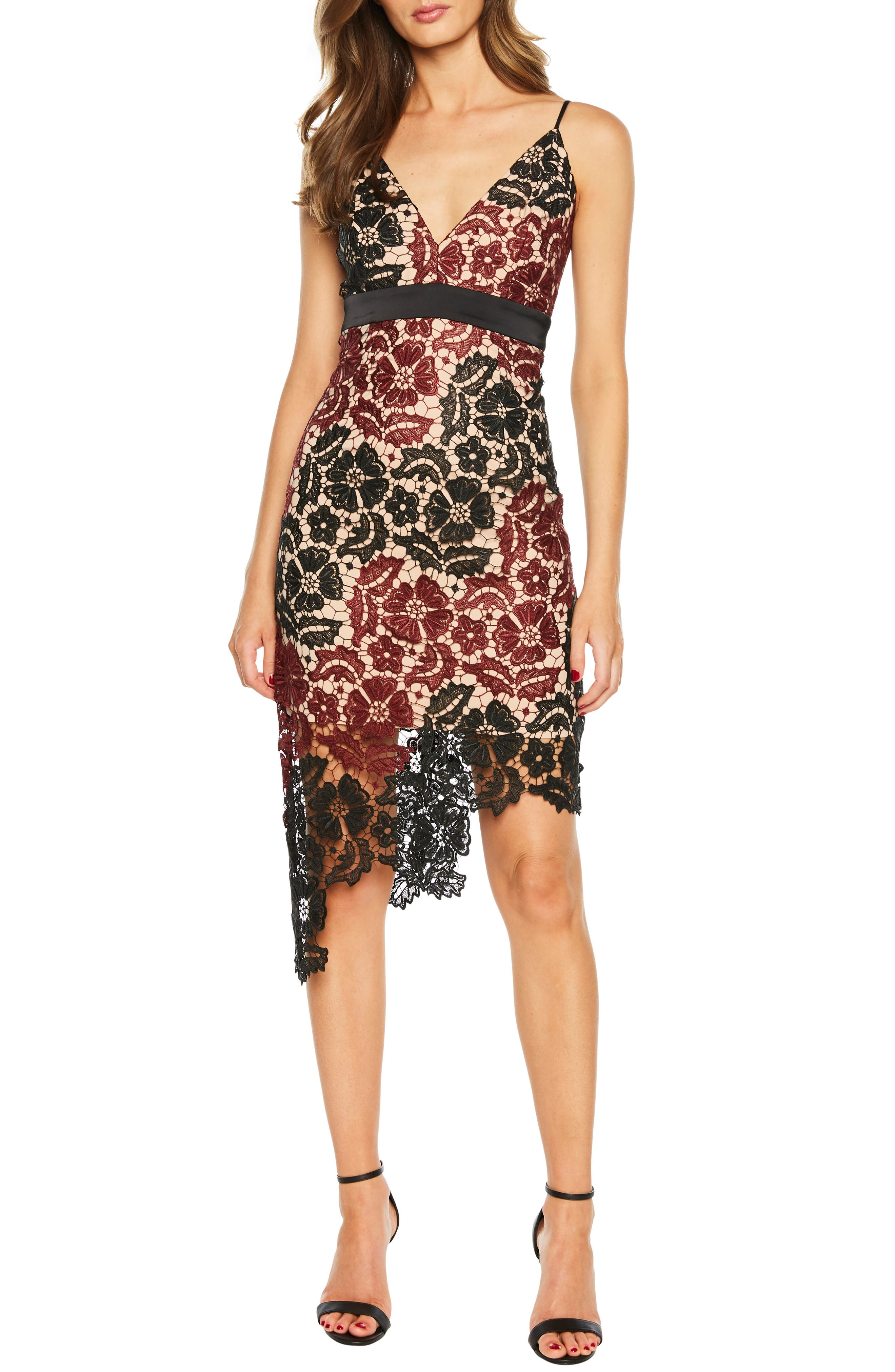 Bardot Asymmetrical Lace Dress, Red