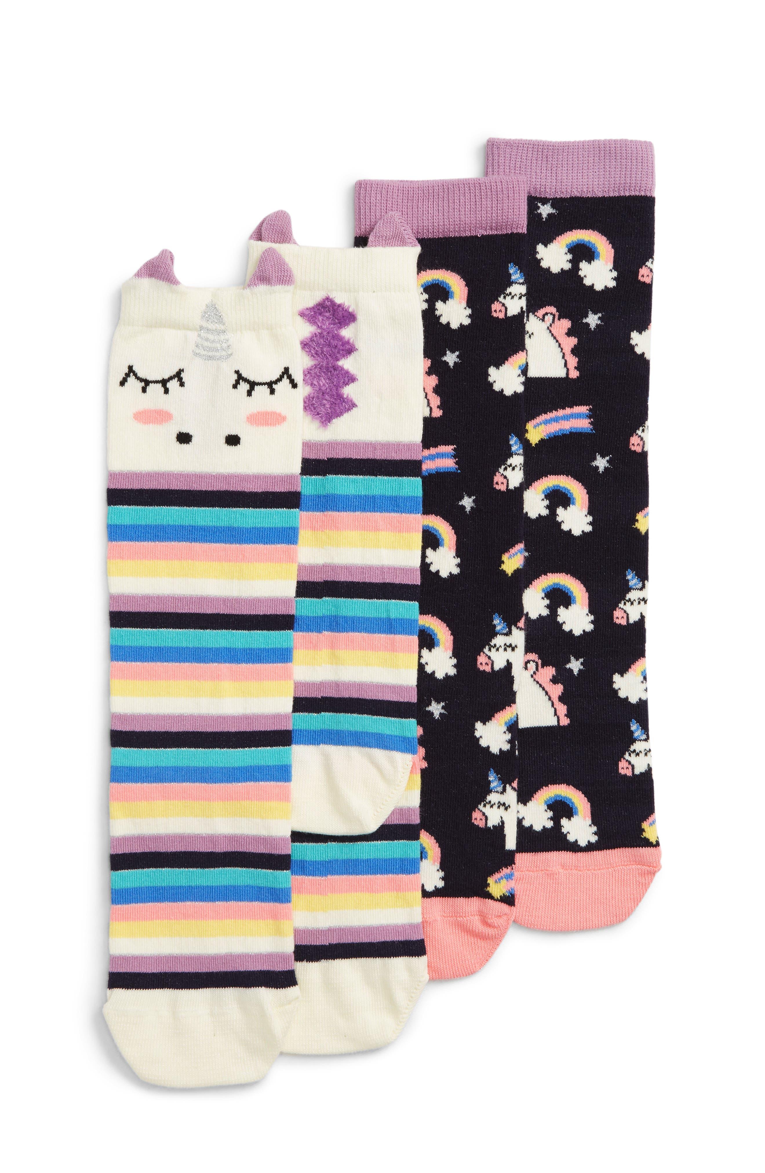 2-Pack Rainbows & Unicorns Knee High Socks,                             Main thumbnail 1, color,                             101