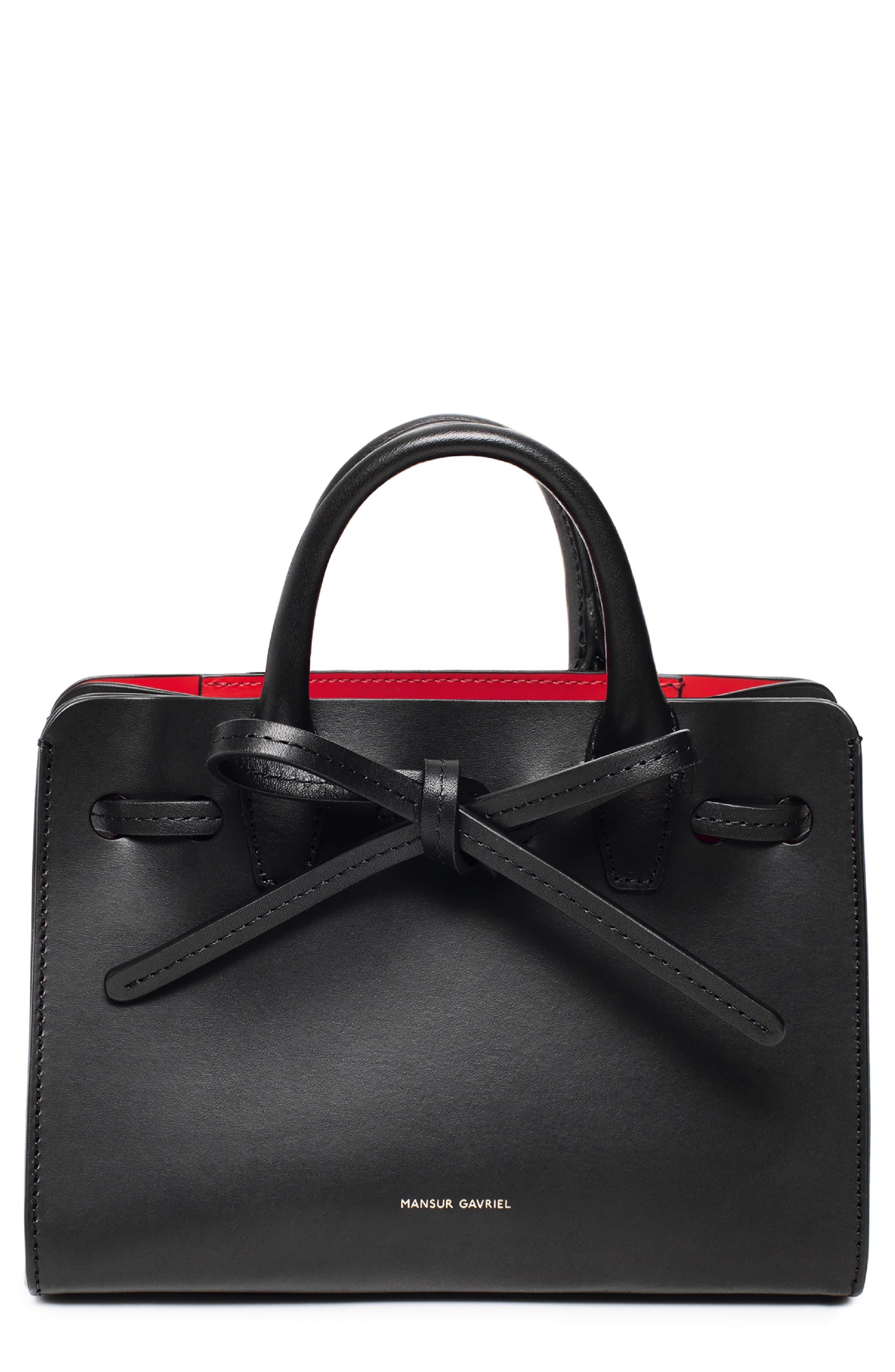 Mini Mini Sun Leather Bag - Black in Black/ Flamma