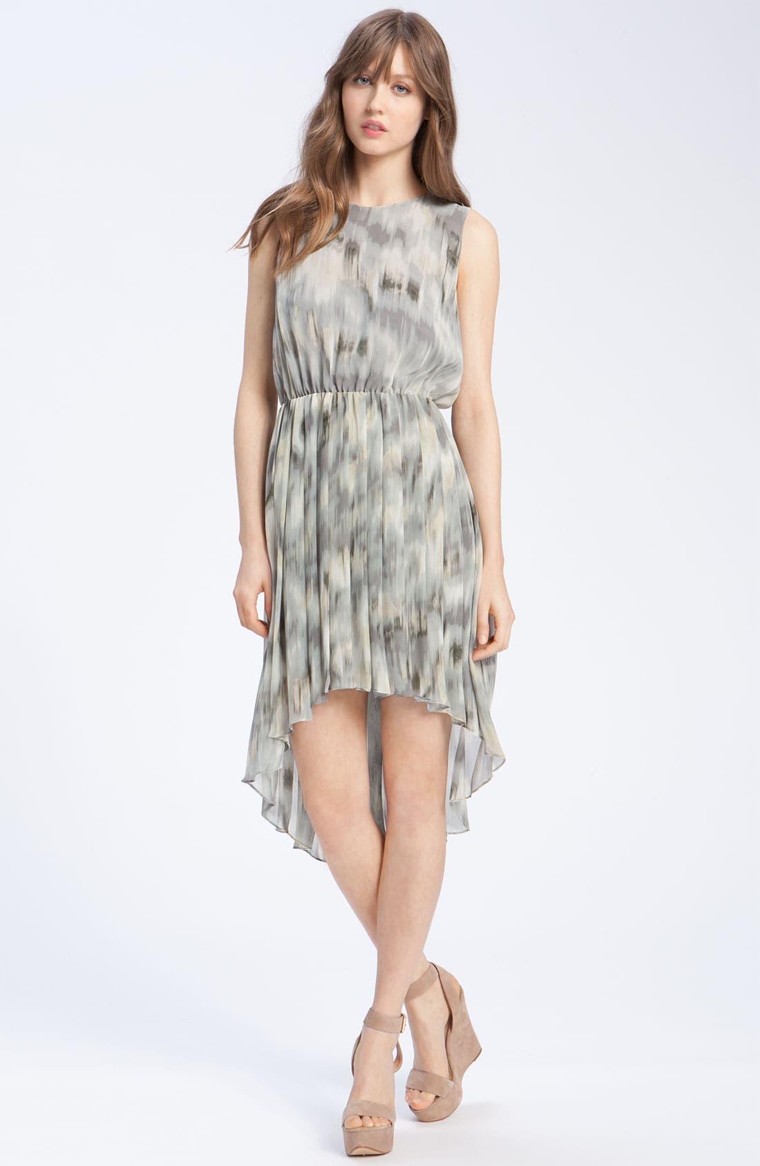 Pleated Ikat Print Dress,                             Main thumbnail 1, color,                             020