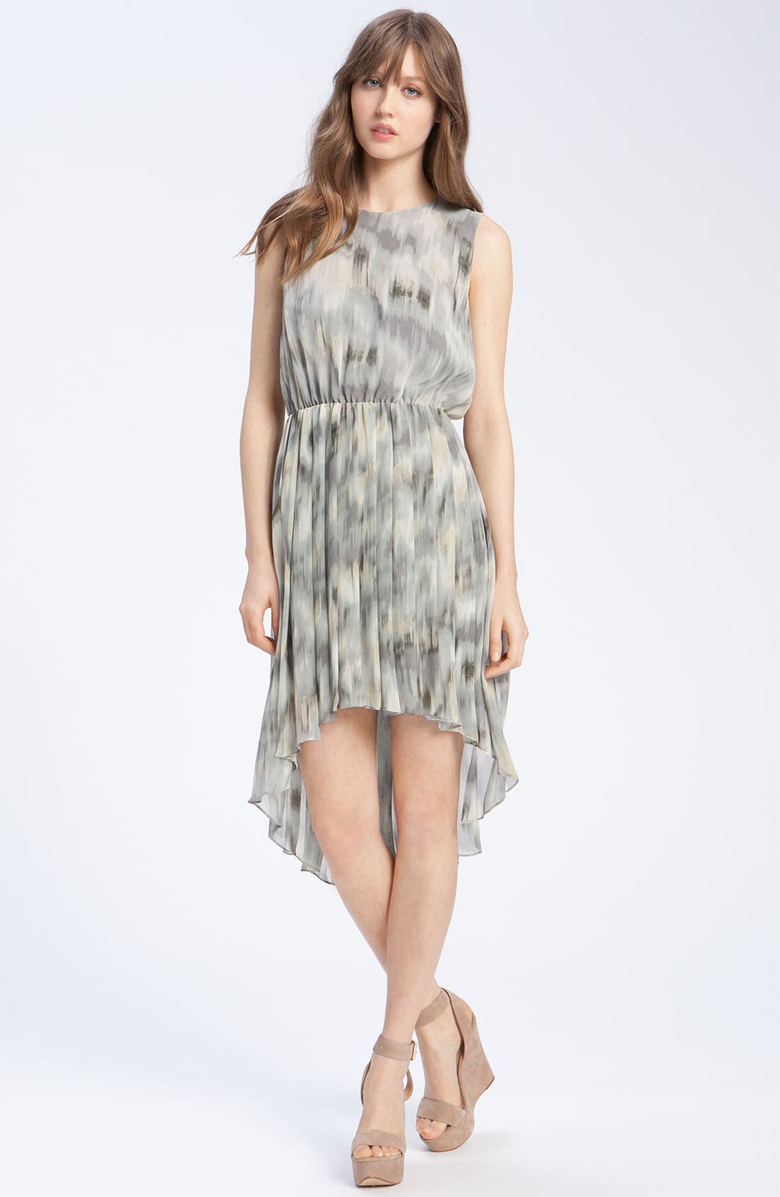 Pleated Ikat Print Dress, Main, color, 020