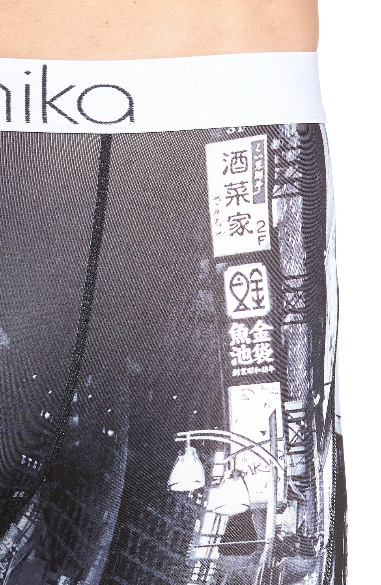 Tokyo Stroll Stretch Boxer Briefs,                             Alternate thumbnail 4, color,                             BLACK/ WHITE