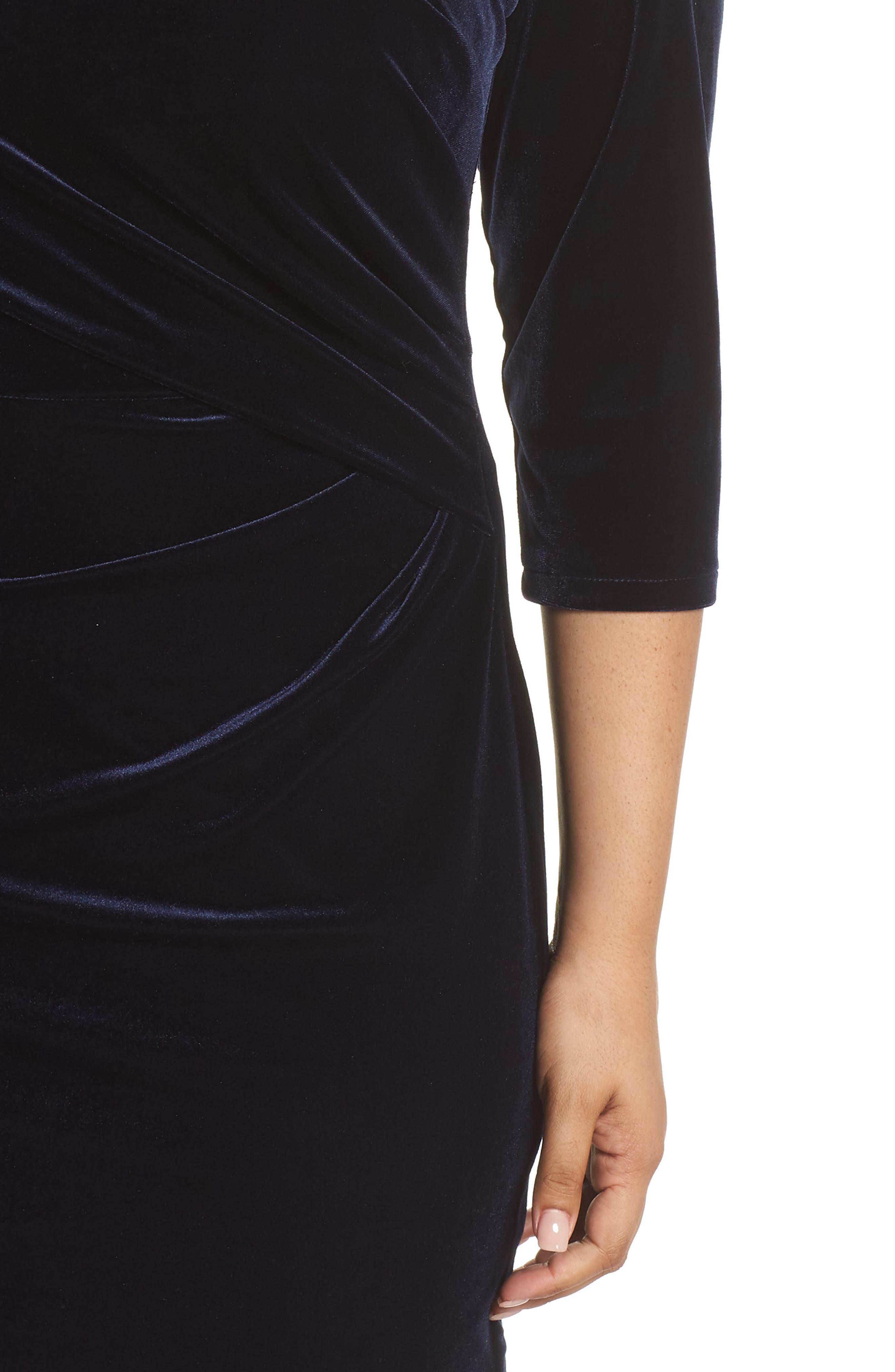 Stretch Velvet Sheath Dress,                             Alternate thumbnail 4, color,                             NAVY