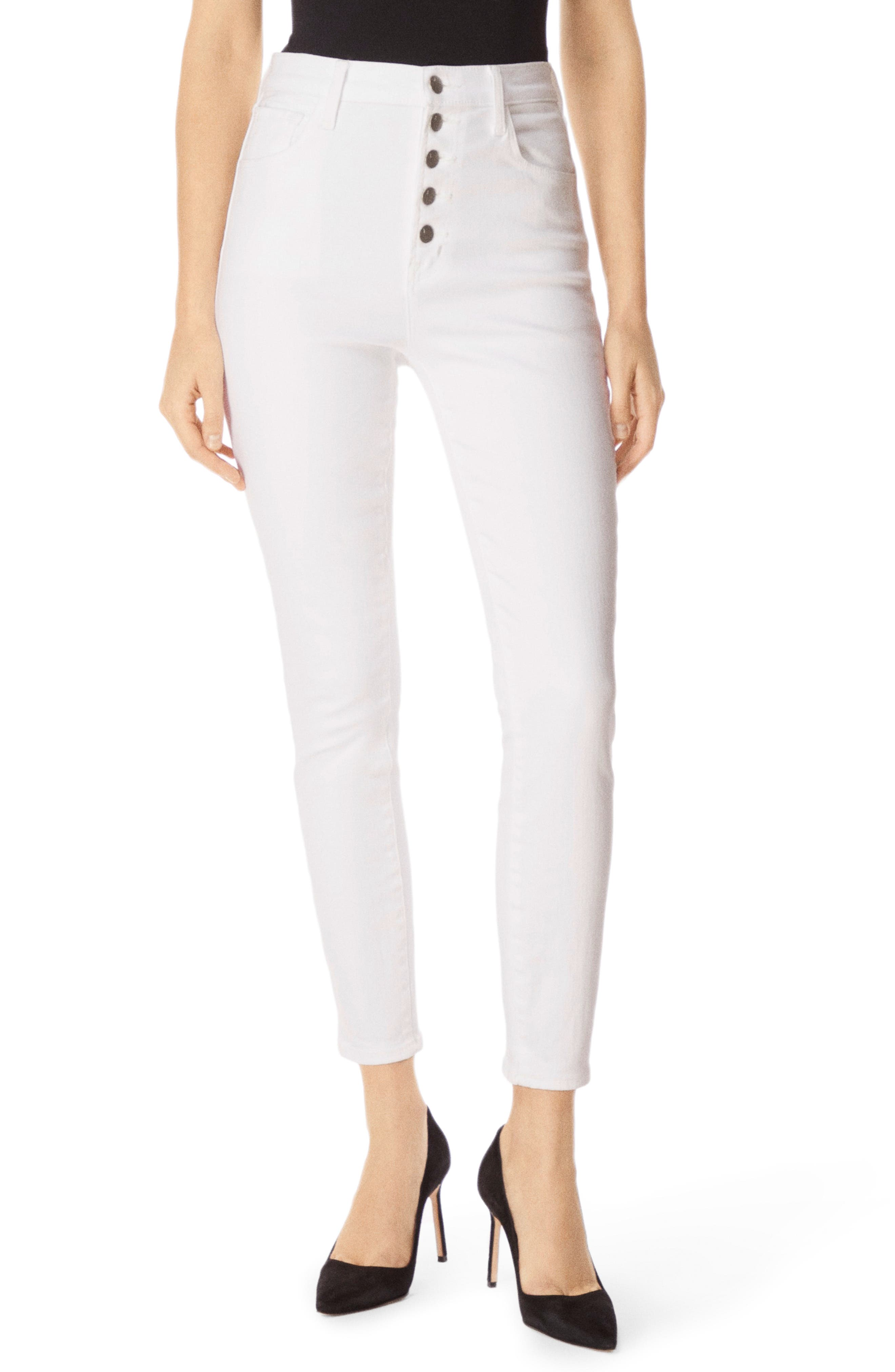Lillie High Waist Ankle Skinny Jeans,                             Main thumbnail 1, color,                             WHITE