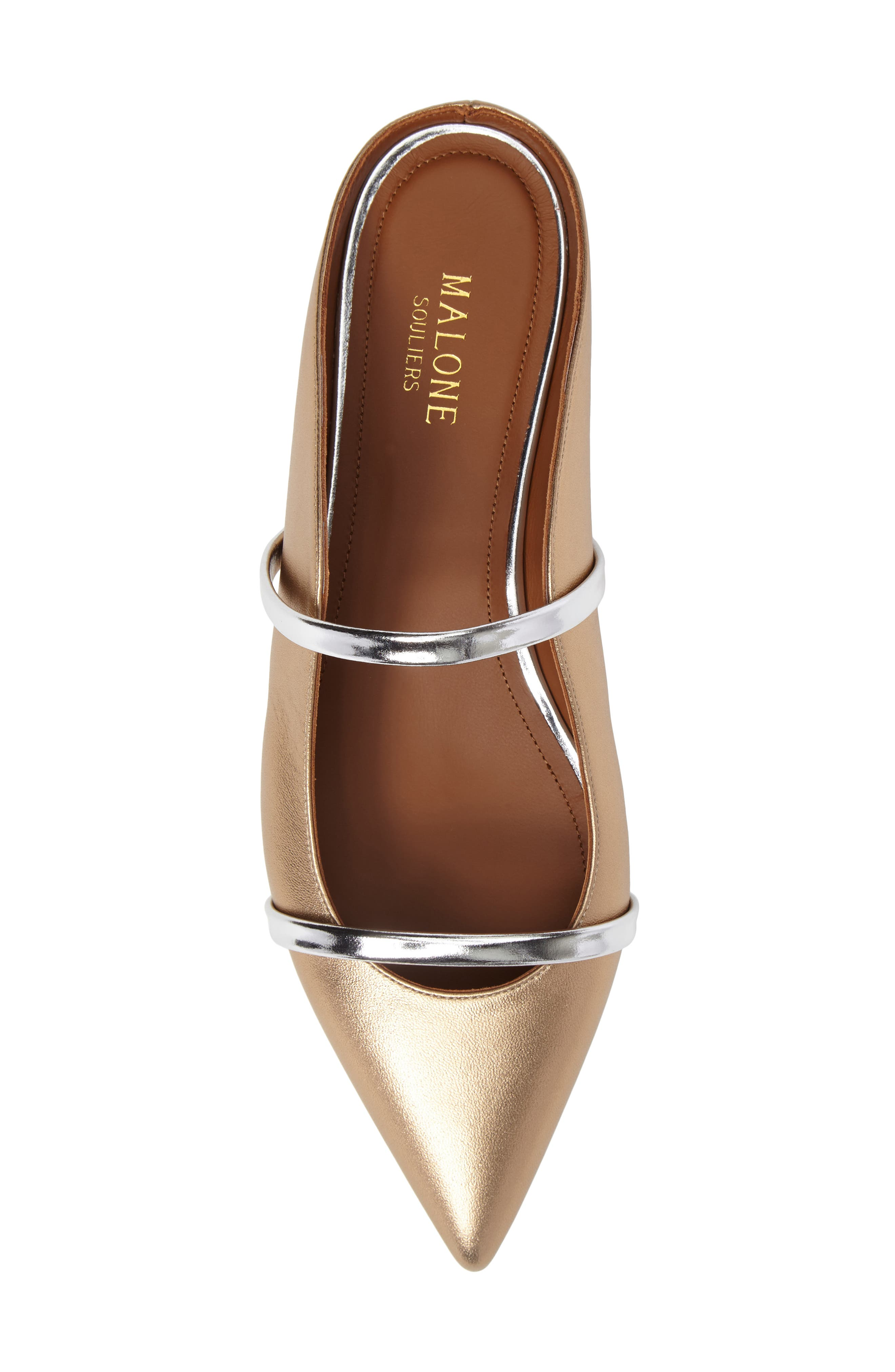 Maureen Pointy Toe Flat,                             Alternate thumbnail 5, color,                             GOLD/ SILVER