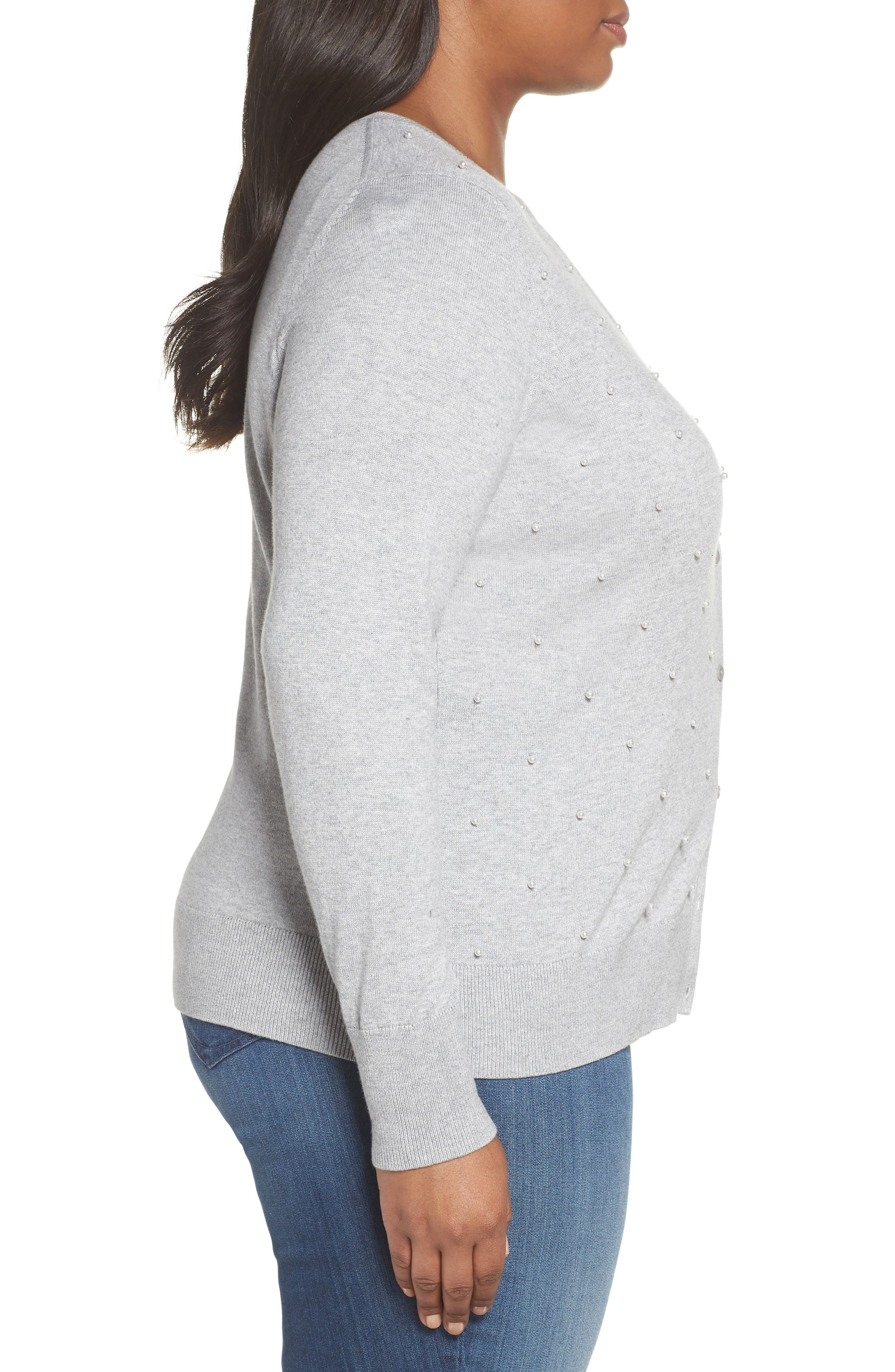 Beaded Front Cardigan,                             Alternate thumbnail 3, color,                             GREY HEATHER