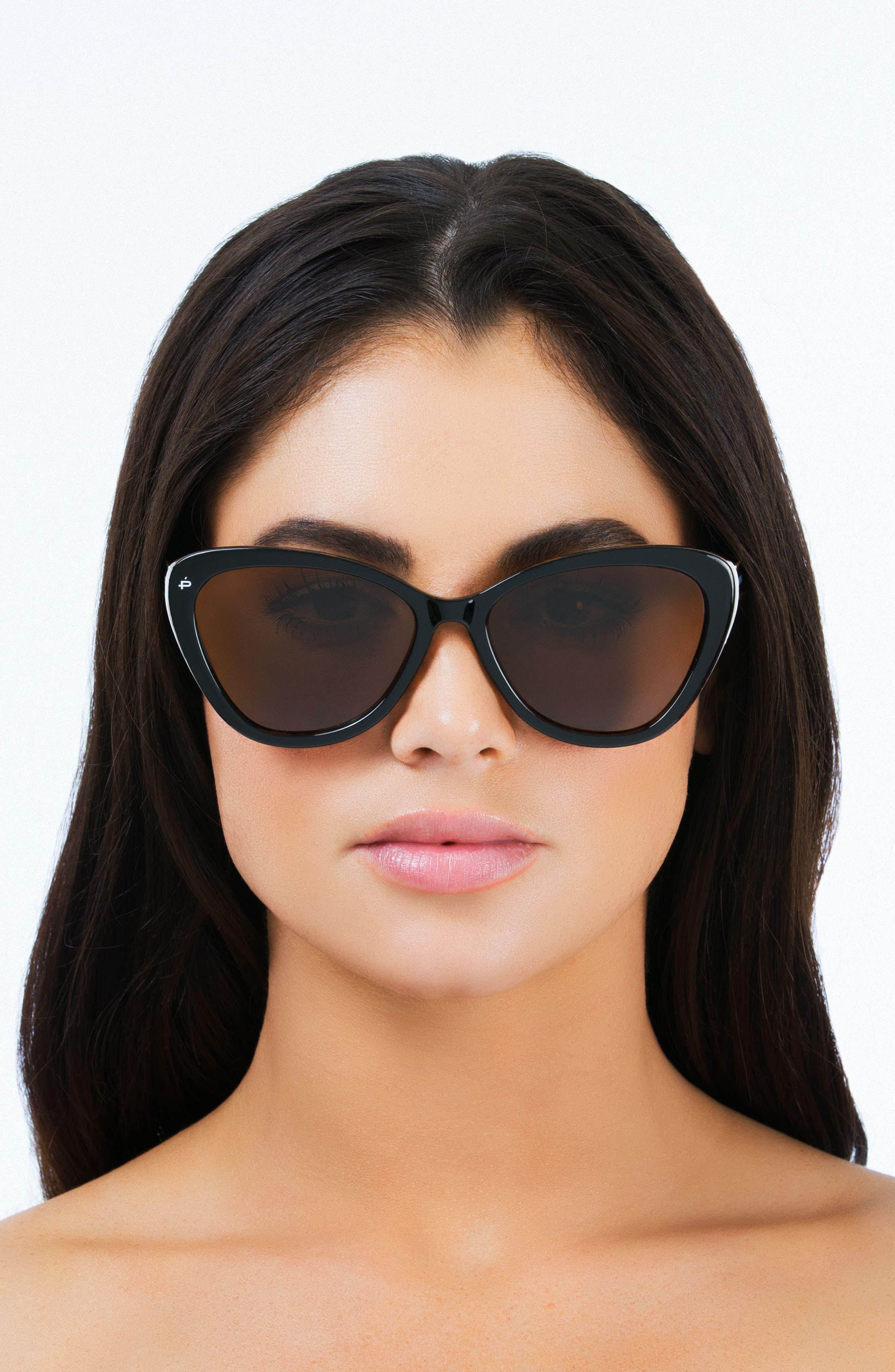 Privé Revaux The Hepburn 56mm Cat Eye Sunglasses,                             Alternate thumbnail 6, color,                             BLACK