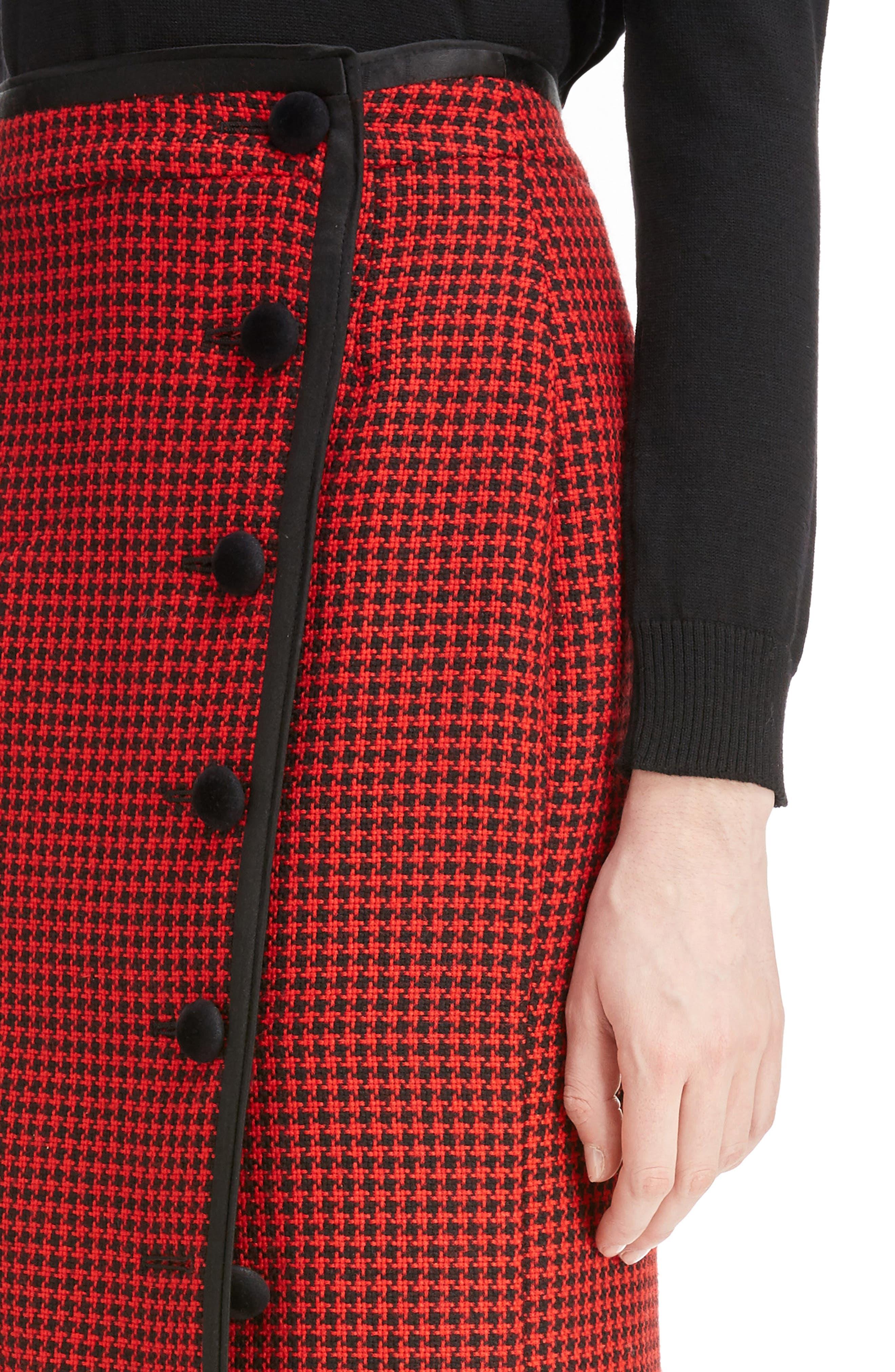Christofor Houndstooth Wool Skirt,                             Alternate thumbnail 4, color,                             623
