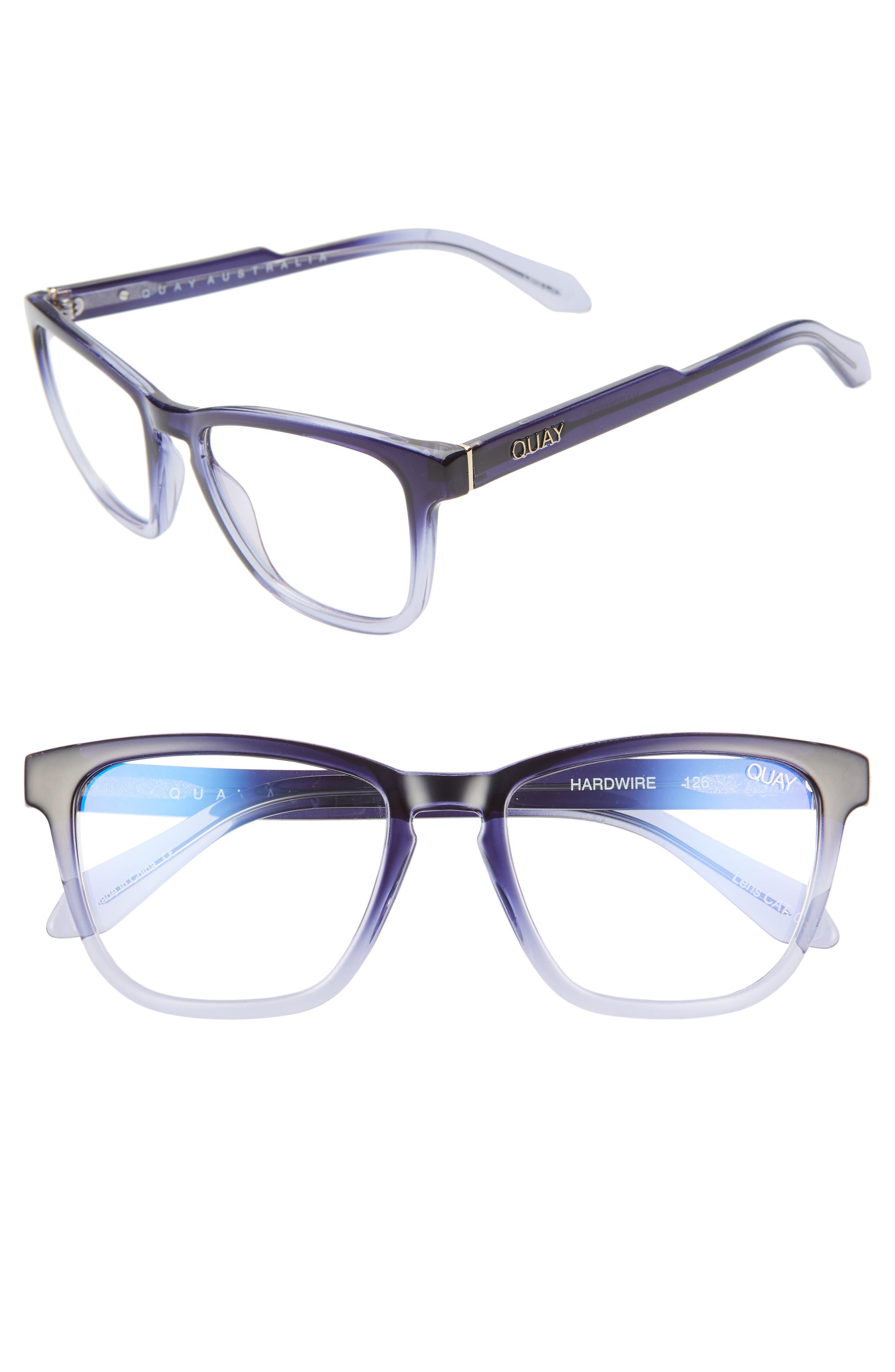Quay Glasses HARDWIRE 54MM BLUE LIGHT BLOCKING GLASSES - NAVY FADE