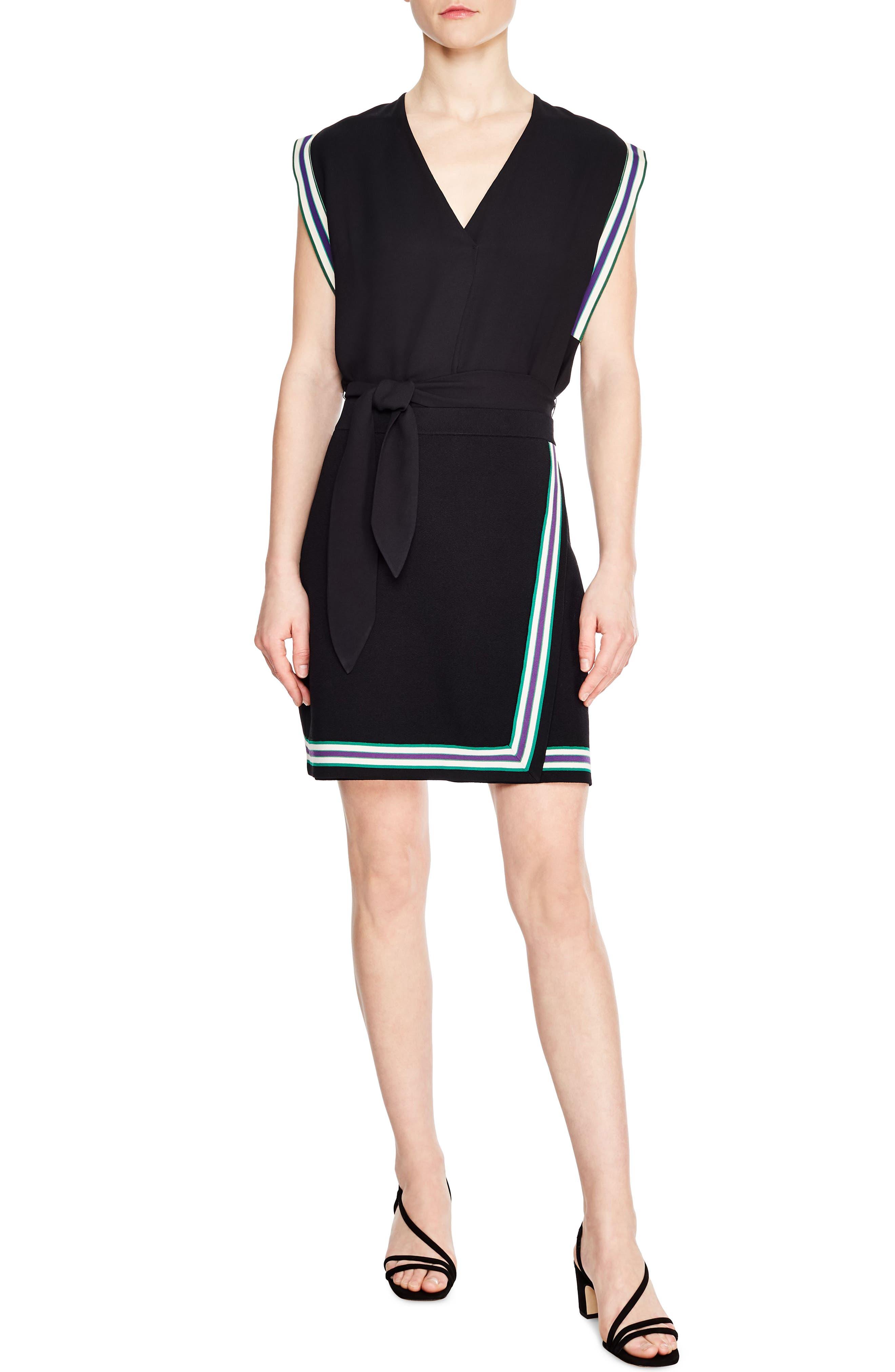 Elodie Stripe V-Neck Minidress in Black