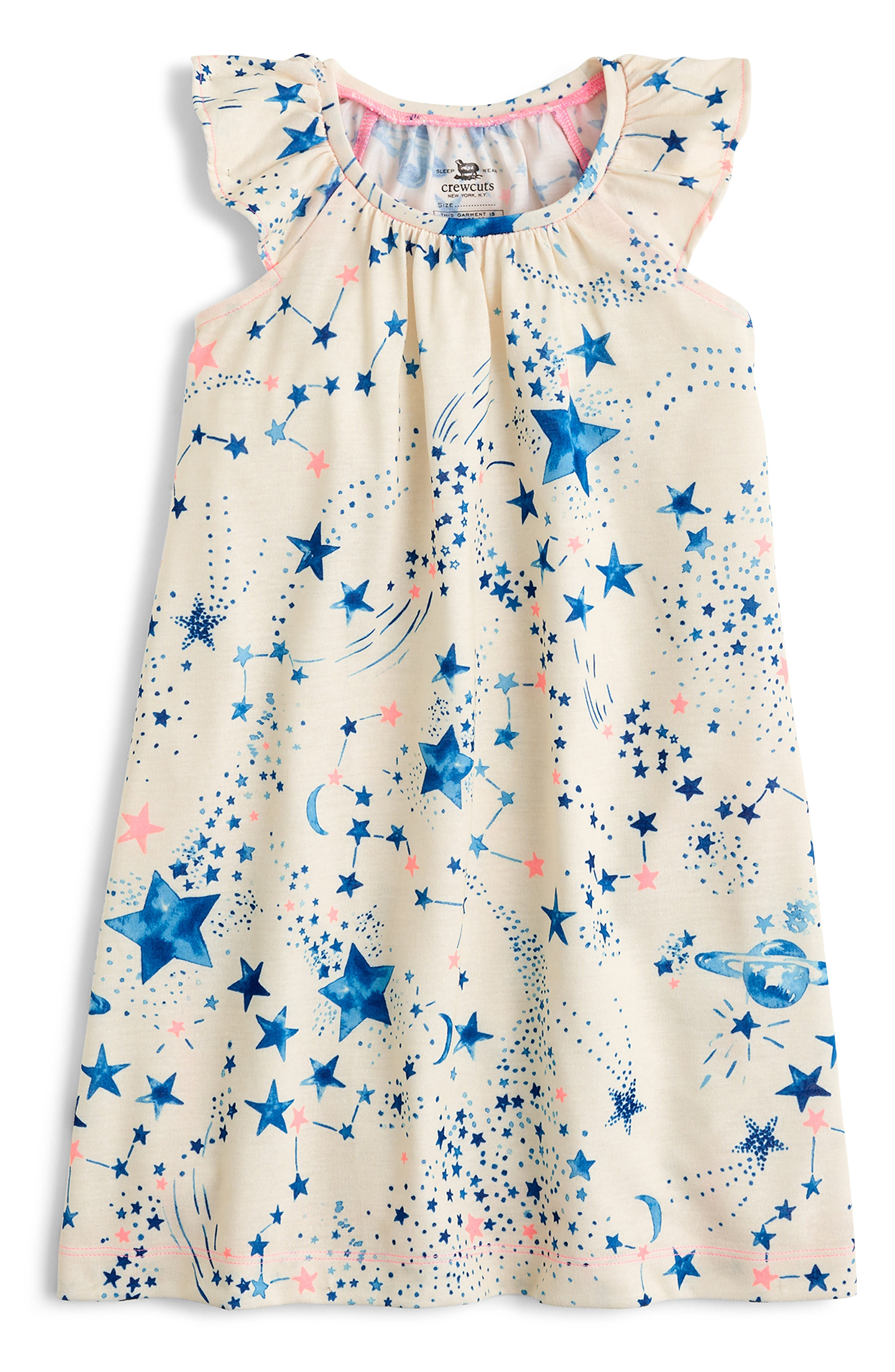 CREWCUTS BY J.CREW Constellations Flutter Sleeve Nightgown, Main, color, IVORY BLUE