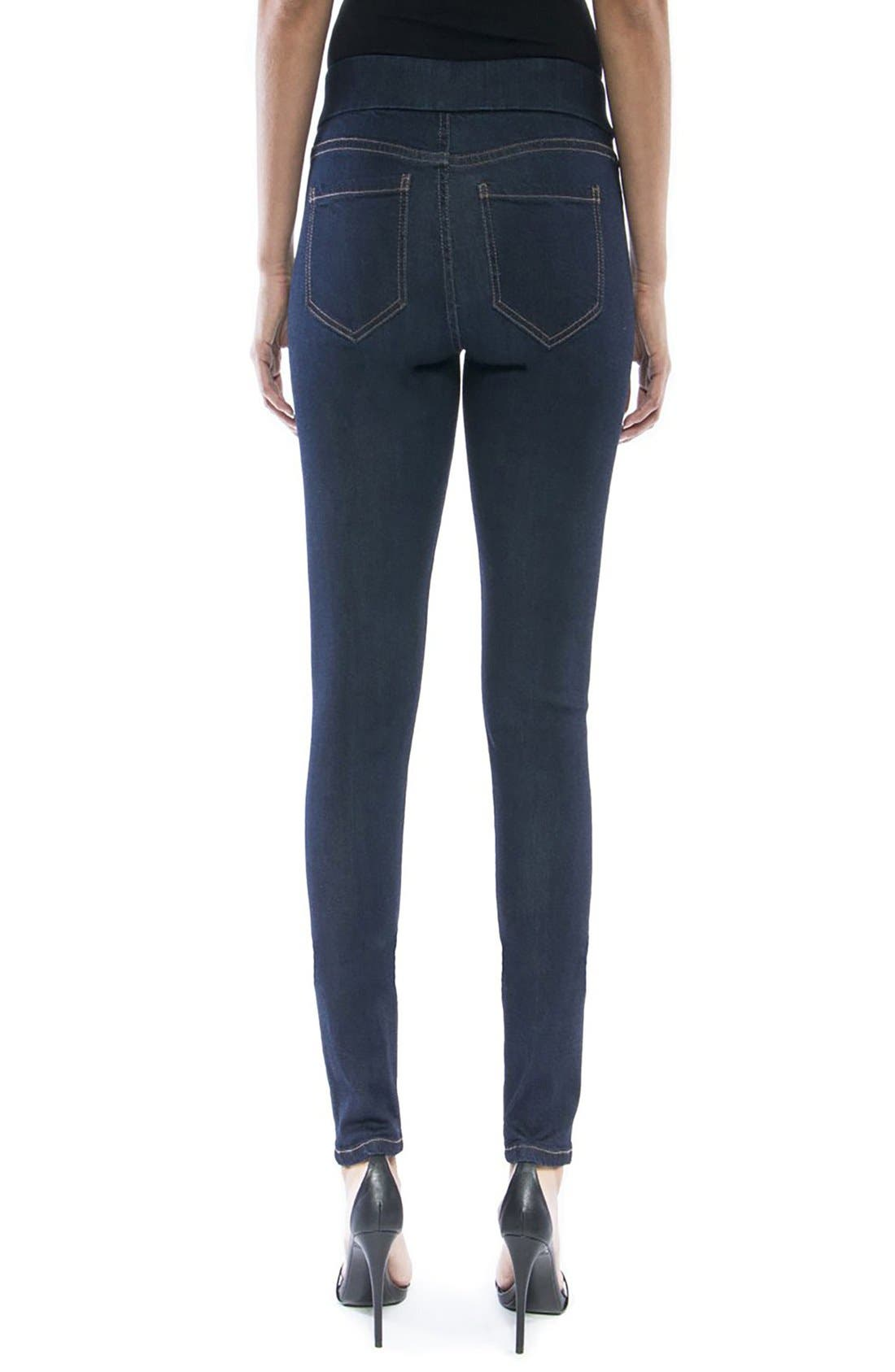 LIVERPOOL,                             Jeans Company Sienna Mid Rise Soft Stretch Denim Leggings,                             Alternate thumbnail 4, color,                             INDIGO RINSE