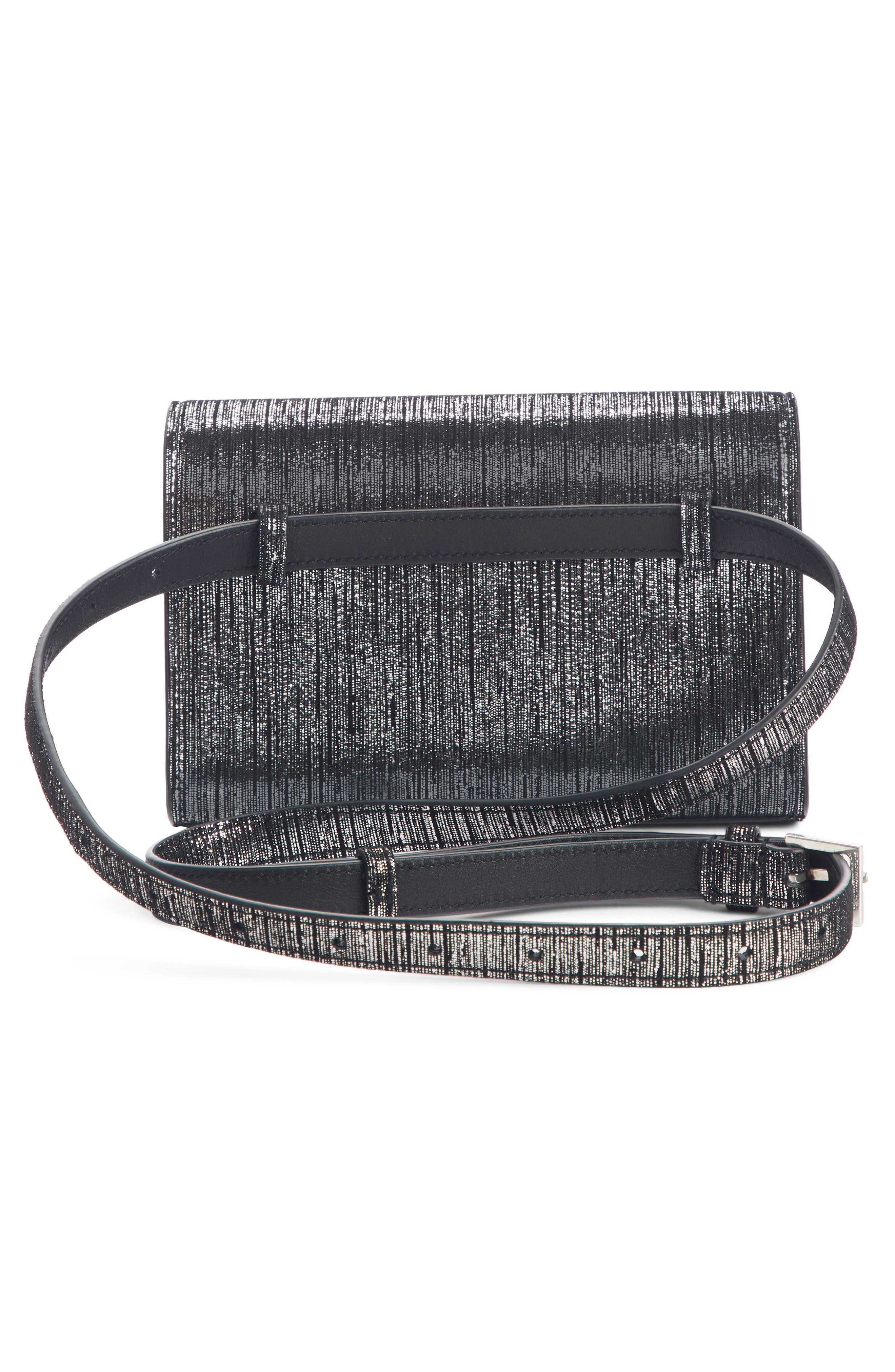 Kate Lamé Lambskin Leather Belt Bag,                             Alternate thumbnail 3, color,                             NOIR/ PLATINE