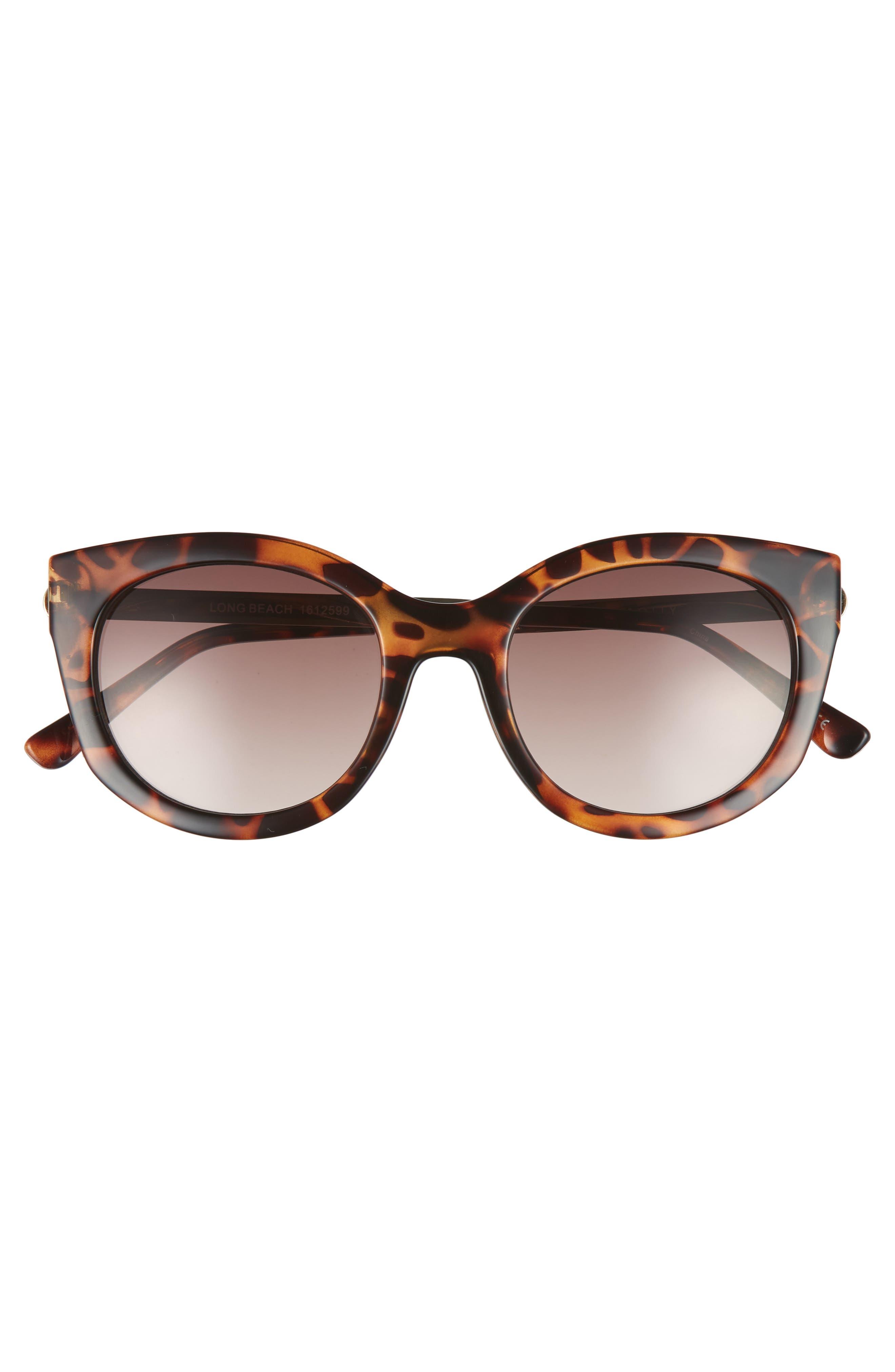 Long Beach 51mm Cat Eye Sunglasses,                             Alternate thumbnail 3, color,                             DARK TORT