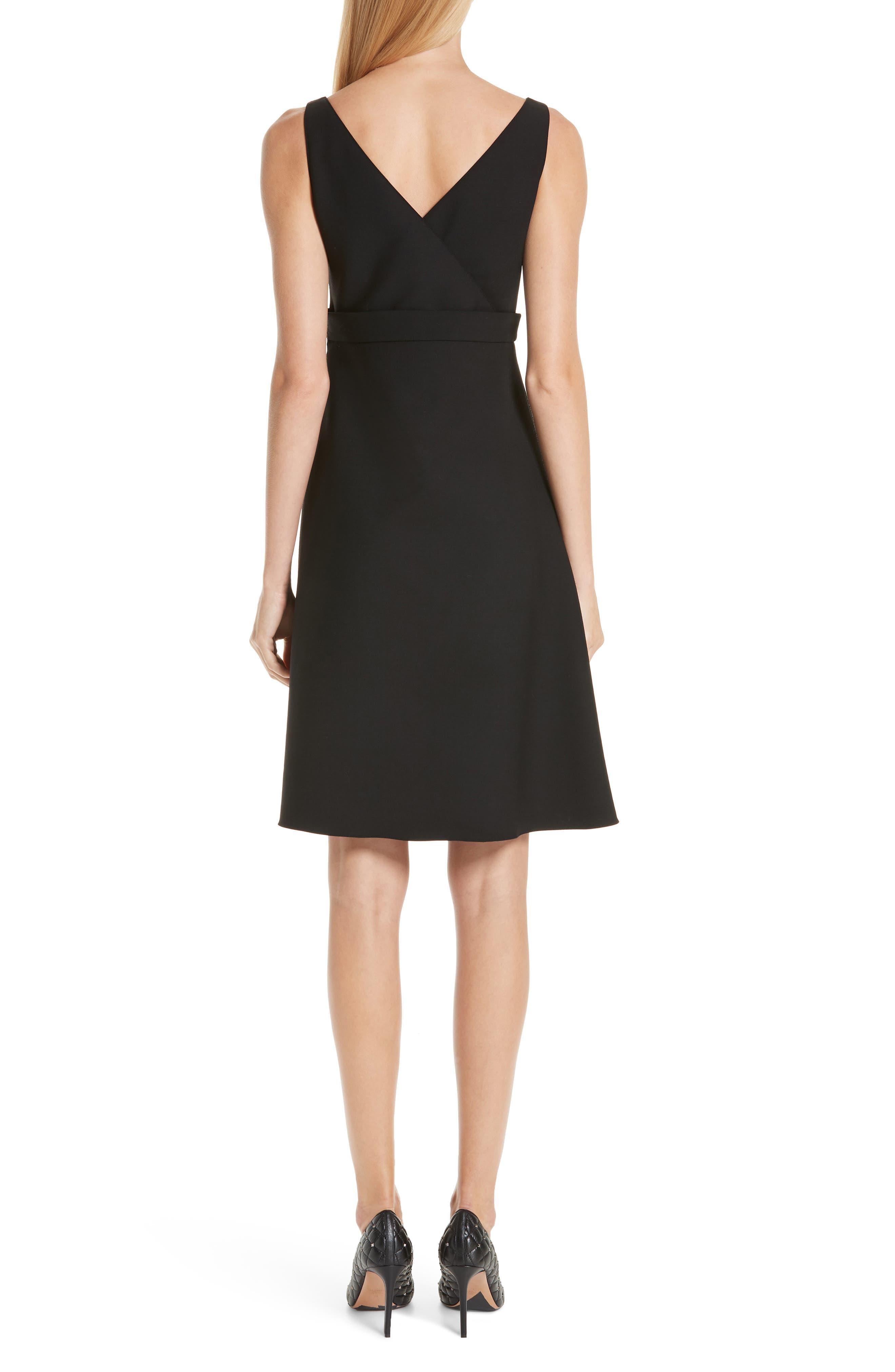 V-Hardware Double Crepe Dress,                             Alternate thumbnail 2, color,                             BLACK
