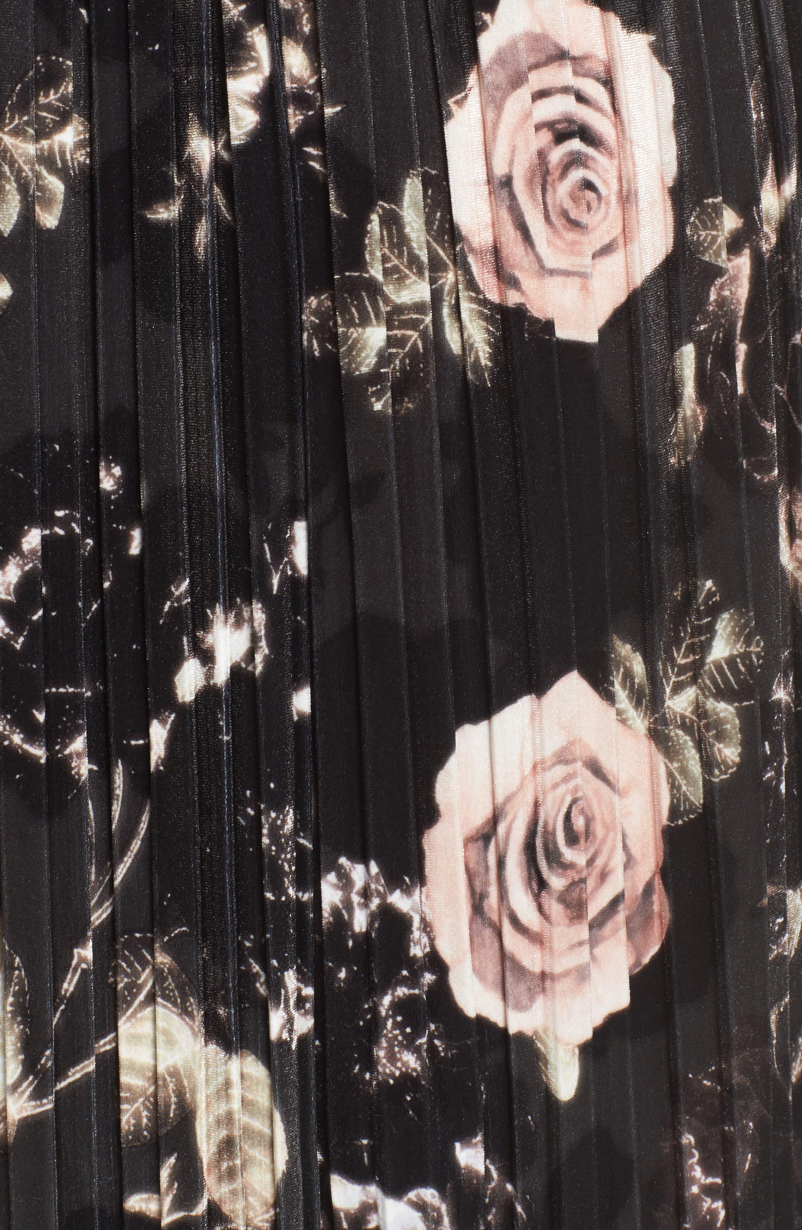 Rose Print Pleated Velvet Pencil Skirt,                             Alternate thumbnail 5, color,                             333