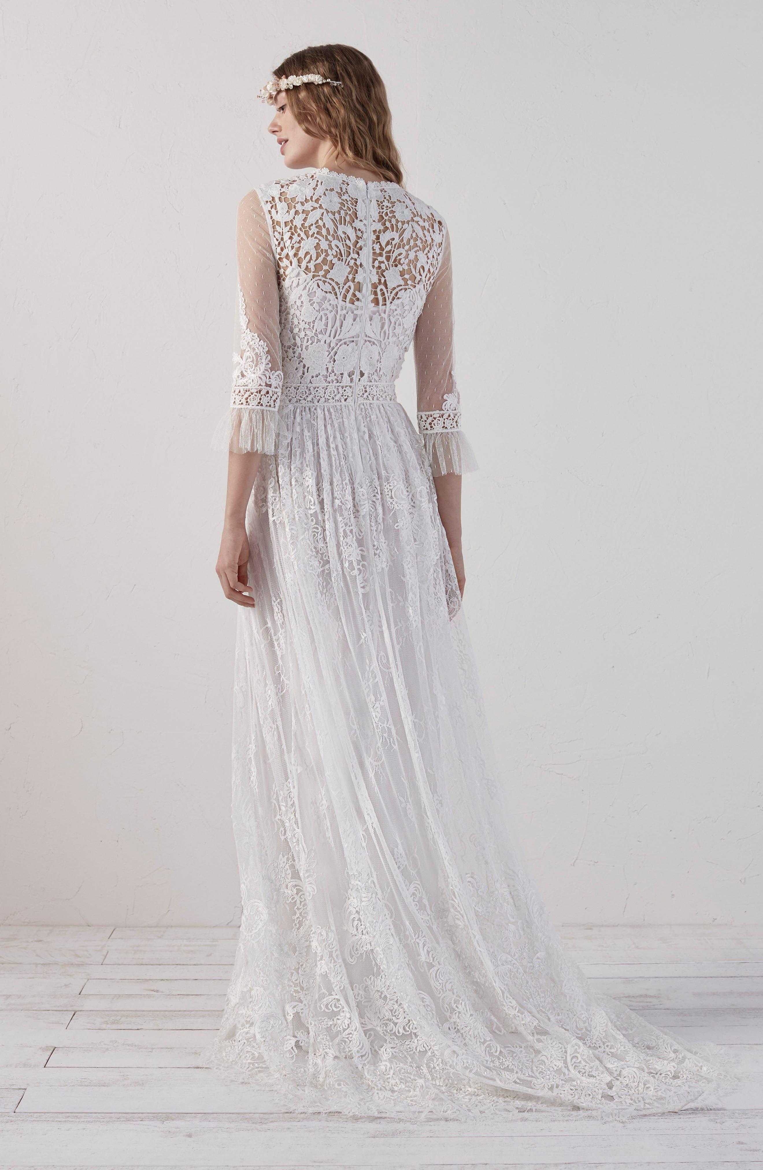 Edet Boho Lace Gown,                             Alternate thumbnail 2, color,                             OFF WHITE