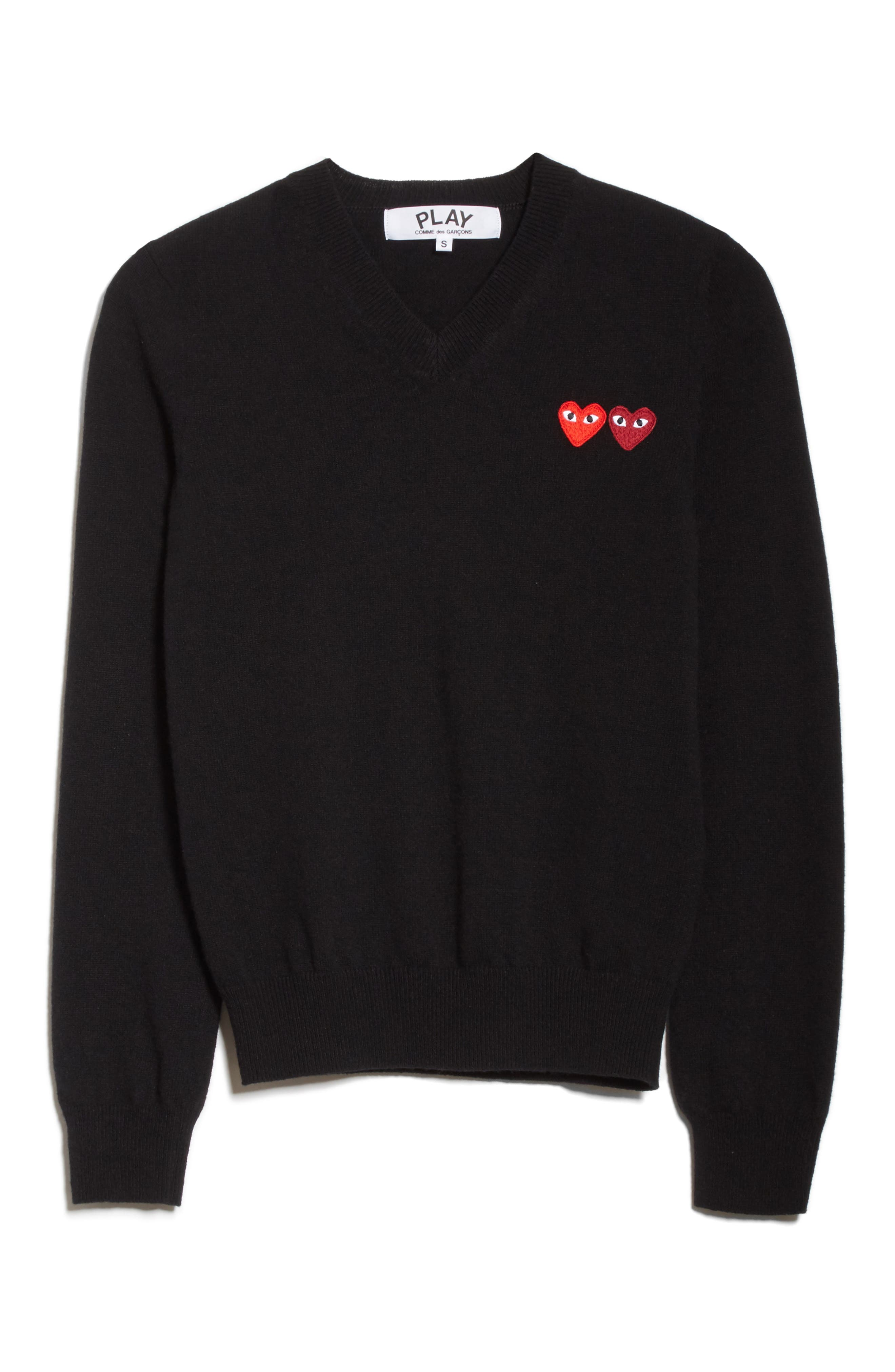 Double Heart Wool Sweater,                             Alternate thumbnail 6, color,                             001