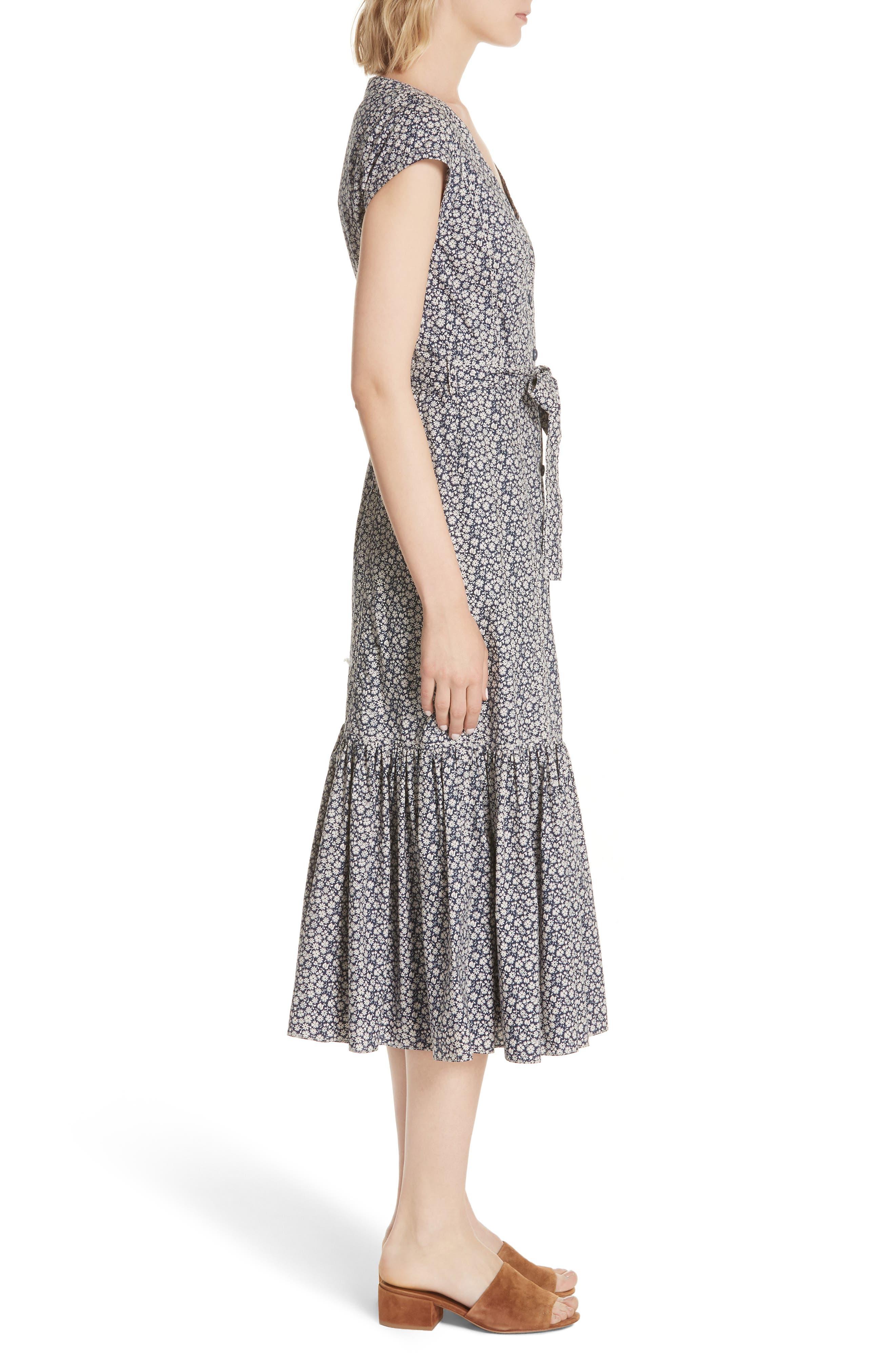 Lauren Tie Front Floral Cotton Dress,                             Alternate thumbnail 3, color,                             450