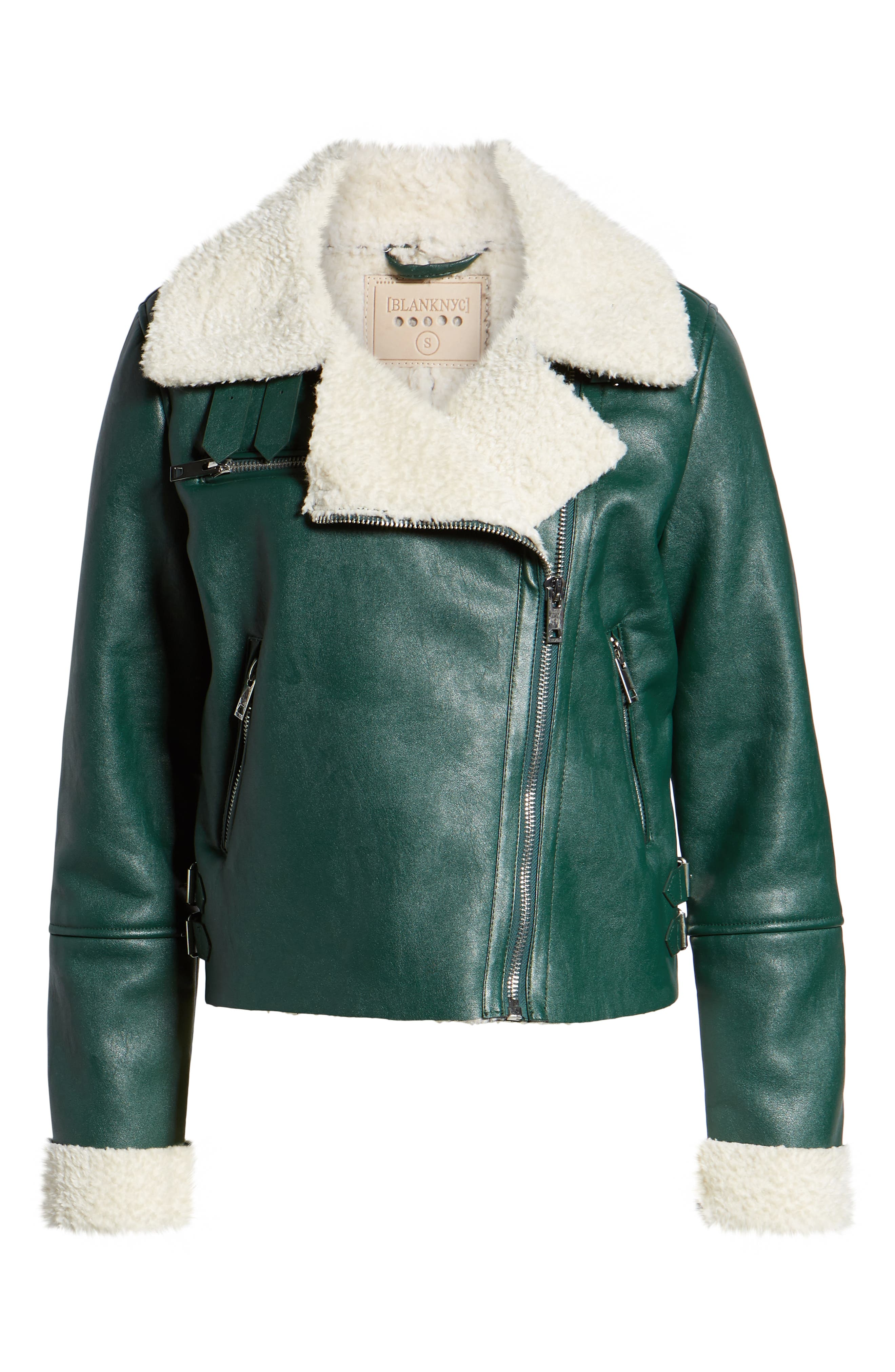 Moto Jacket with Faux Shearling Lining,                             Alternate thumbnail 6, color,                             OUT OF THE WOODS