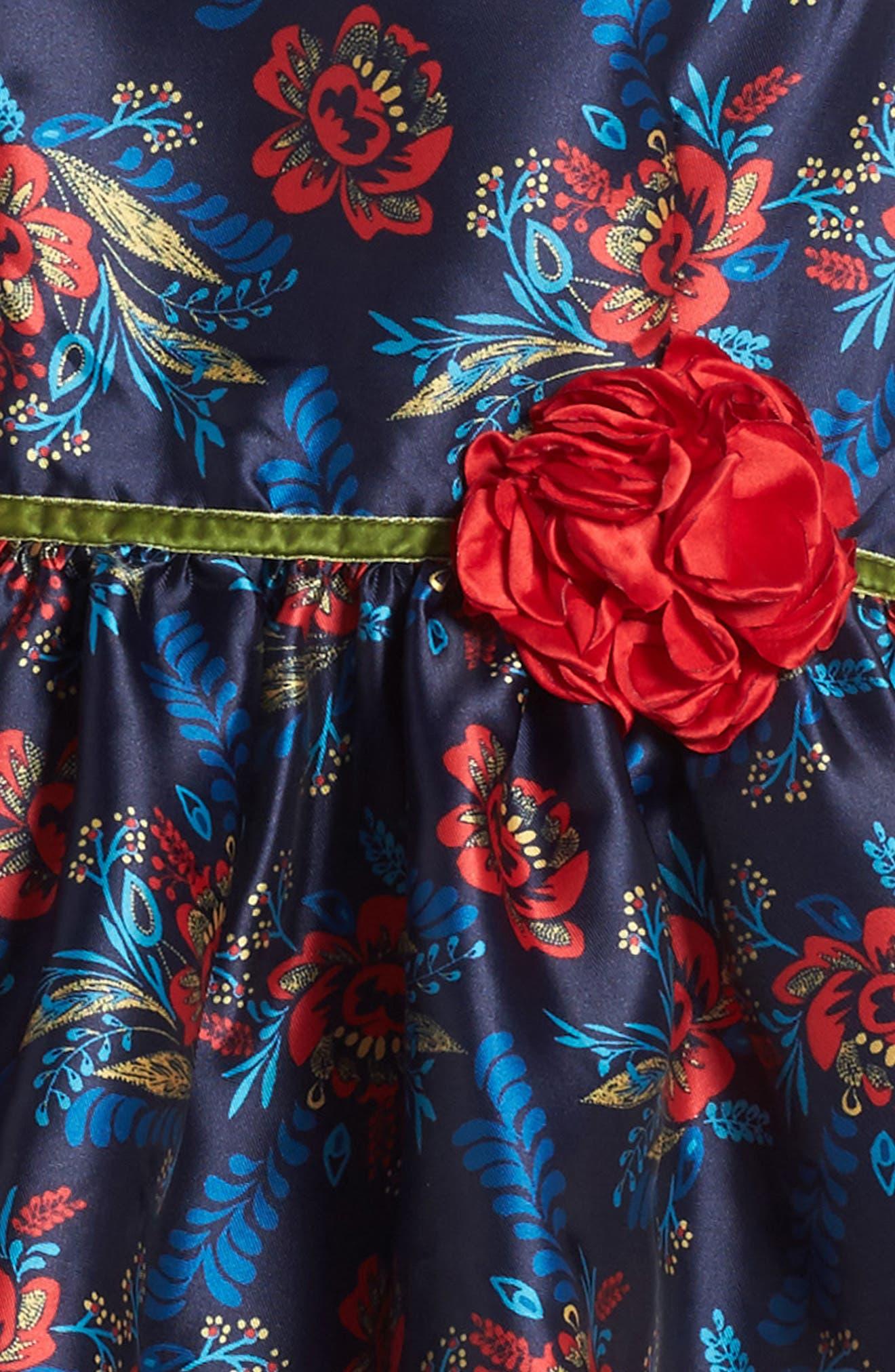 Floral Print Shantung Dress,                             Alternate thumbnail 3, color,                             415