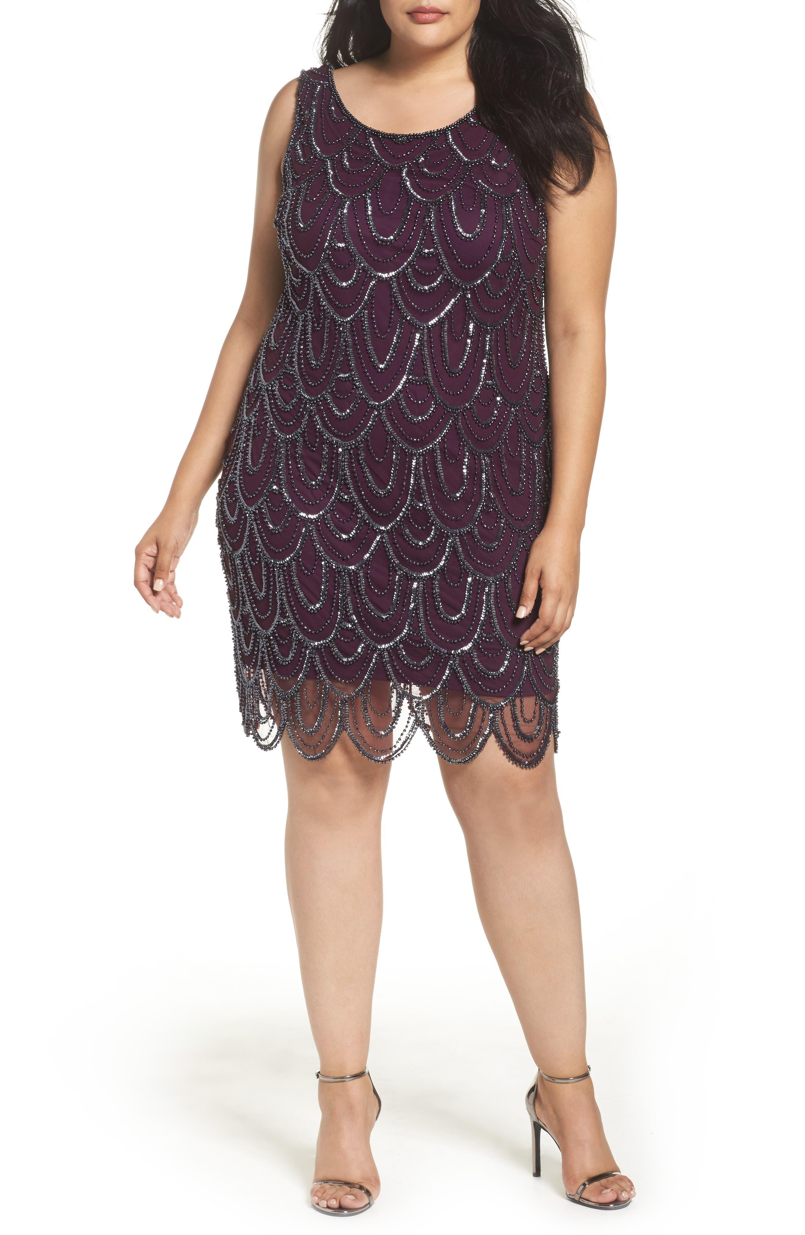 Beaded Sheath Dress,                             Alternate thumbnail 14, color,