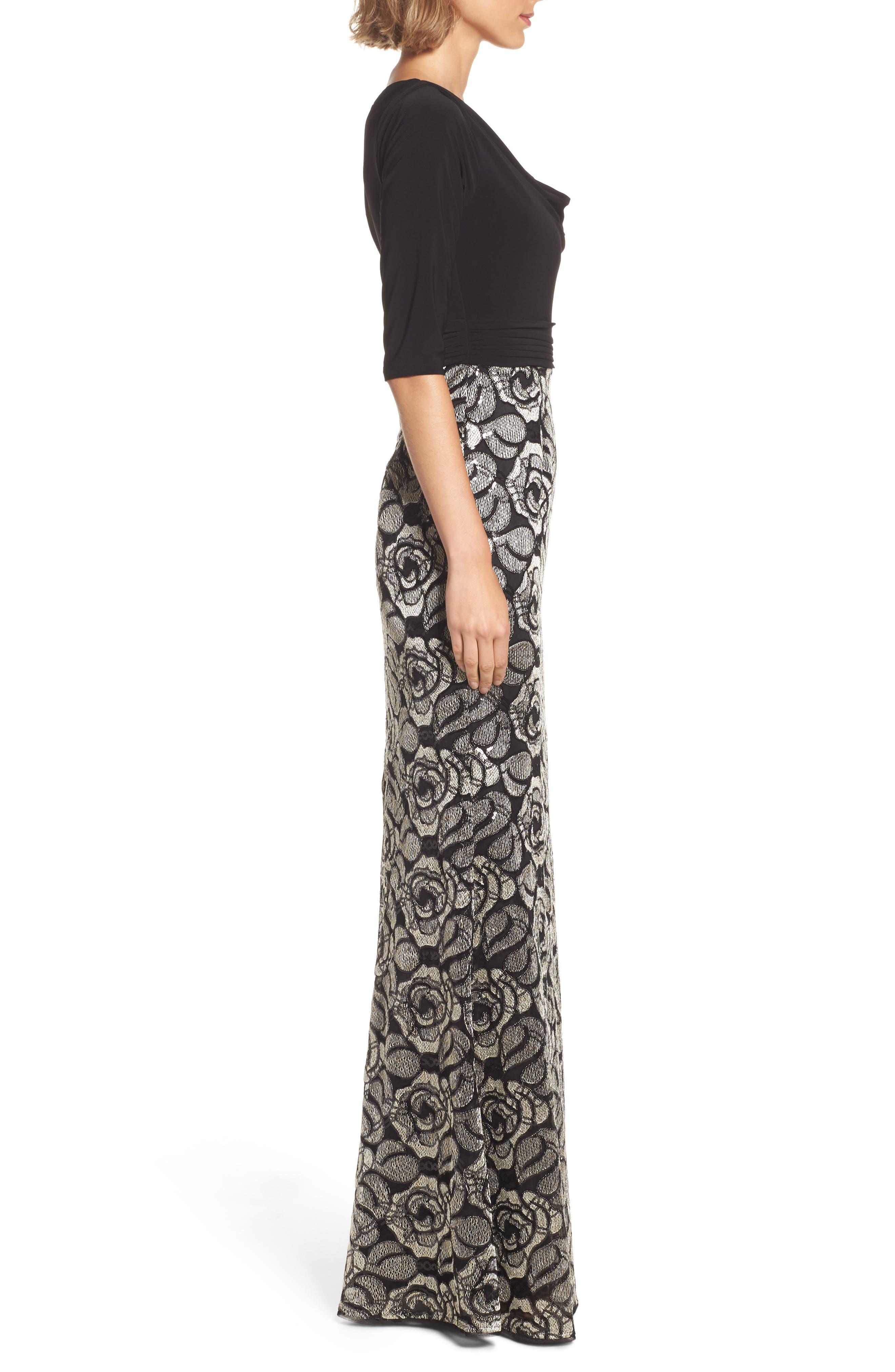 Cowl Neck Rose Lace Gown,                             Alternate thumbnail 3, color,                             018