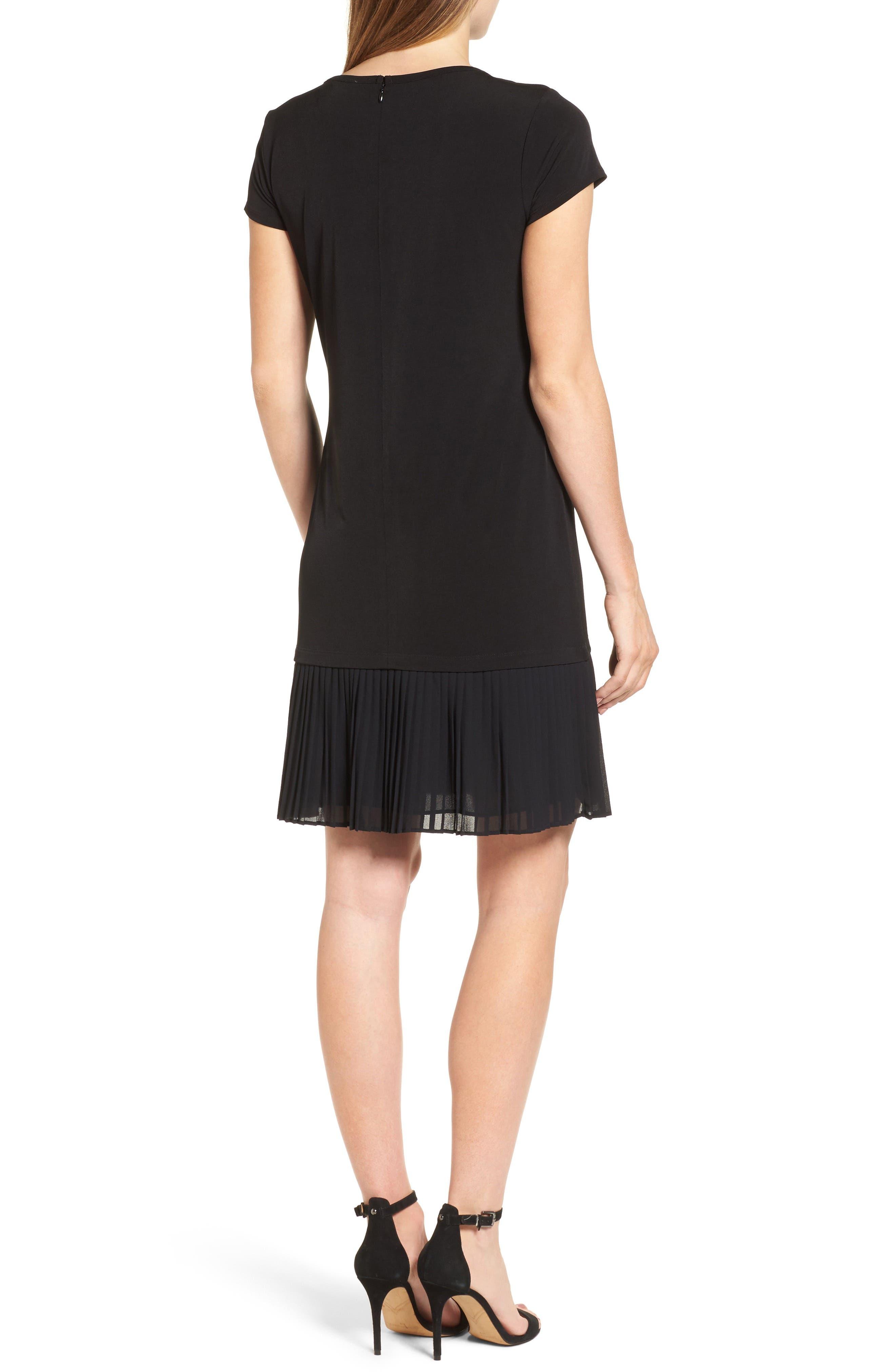Pleat Chiffon Hem Jersey Dress,                             Alternate thumbnail 2, color,                             001