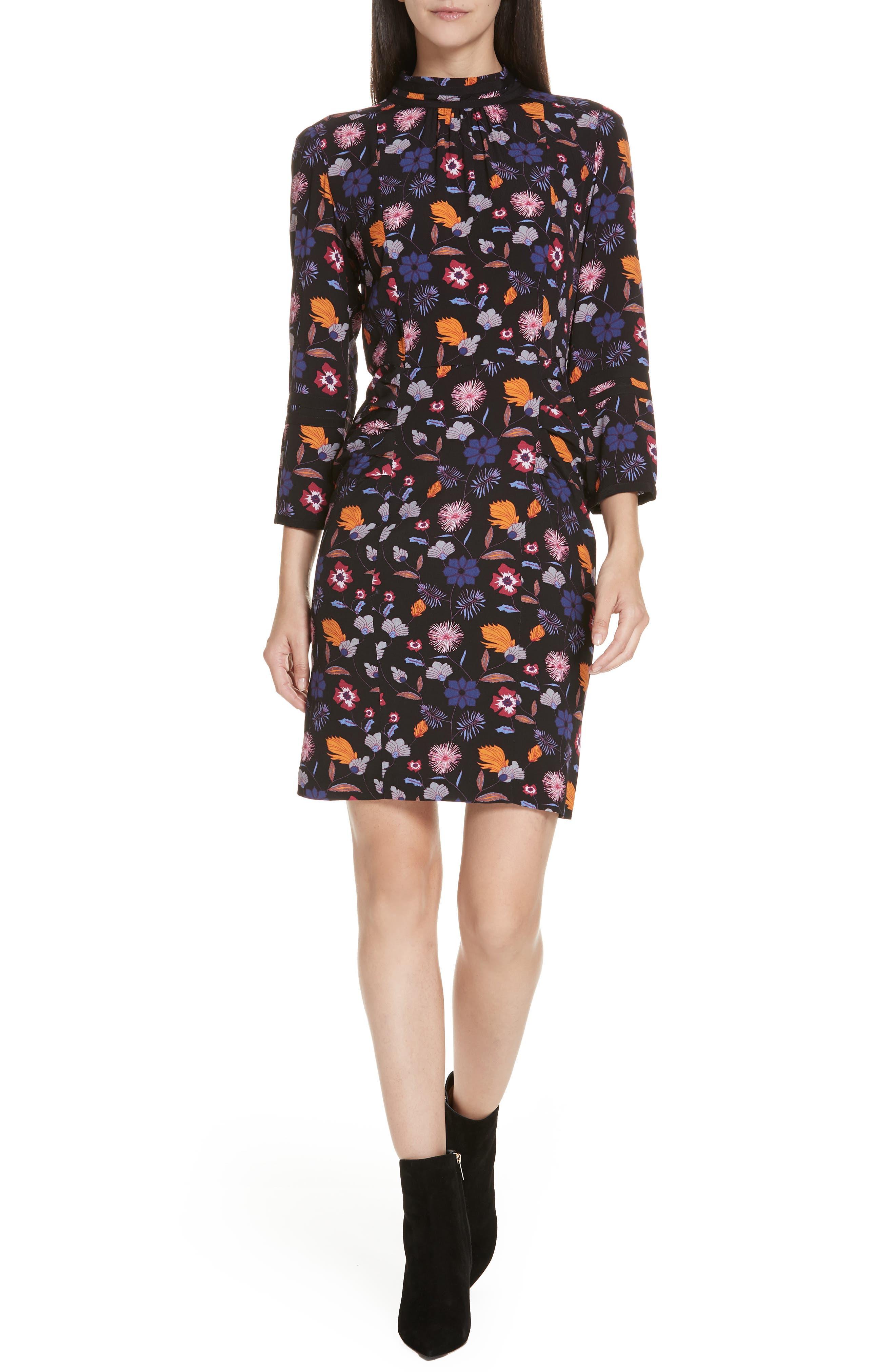 Maha High Neck Botanical Mini Dress,                             Main thumbnail 1, color,                             001