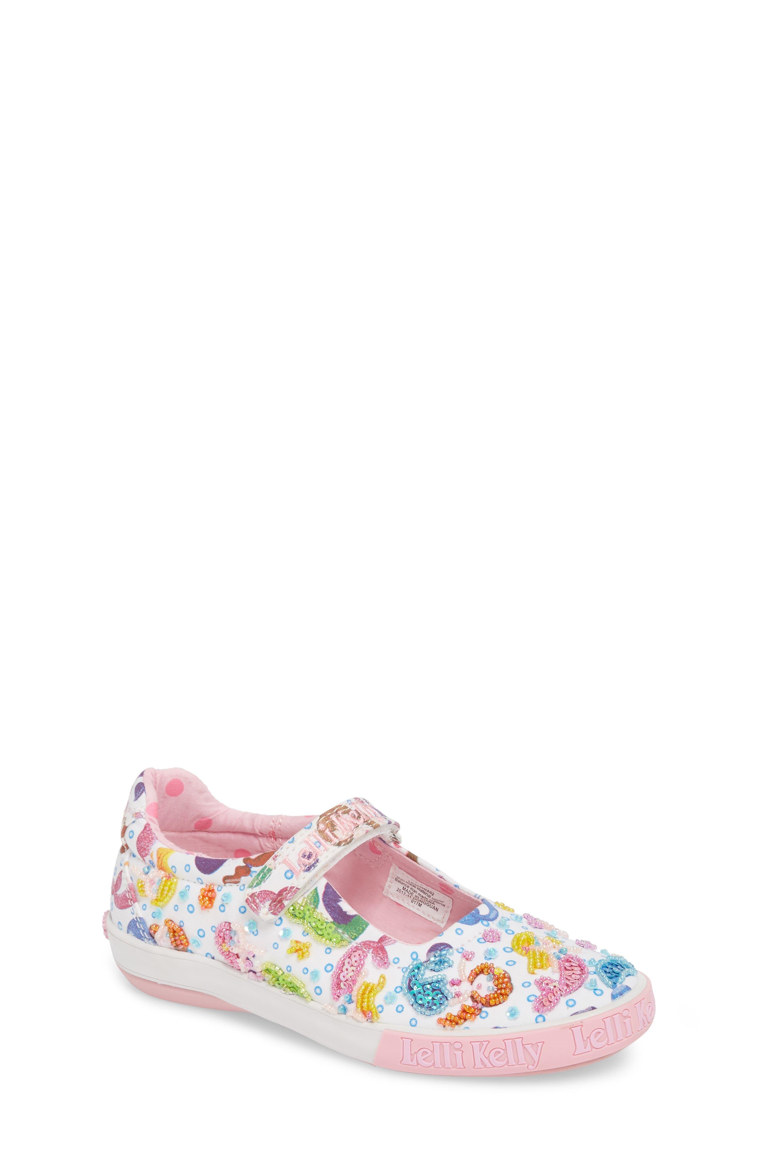 Beaded Mary Jane Sneaker,                             Main thumbnail 1, color,                             WHITE