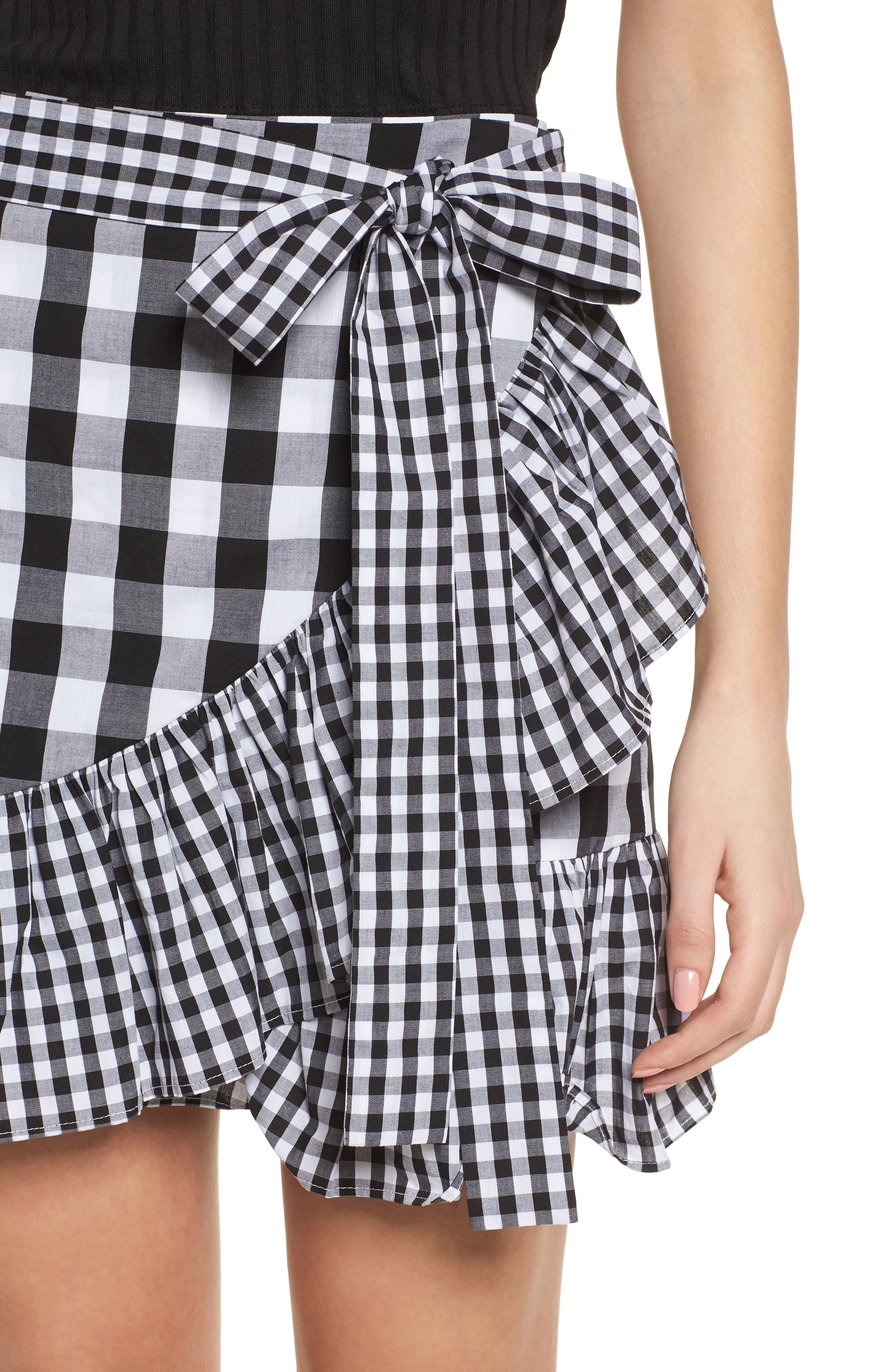 Mixed Check Ruffle Trim Skirt,                             Alternate thumbnail 4, color,