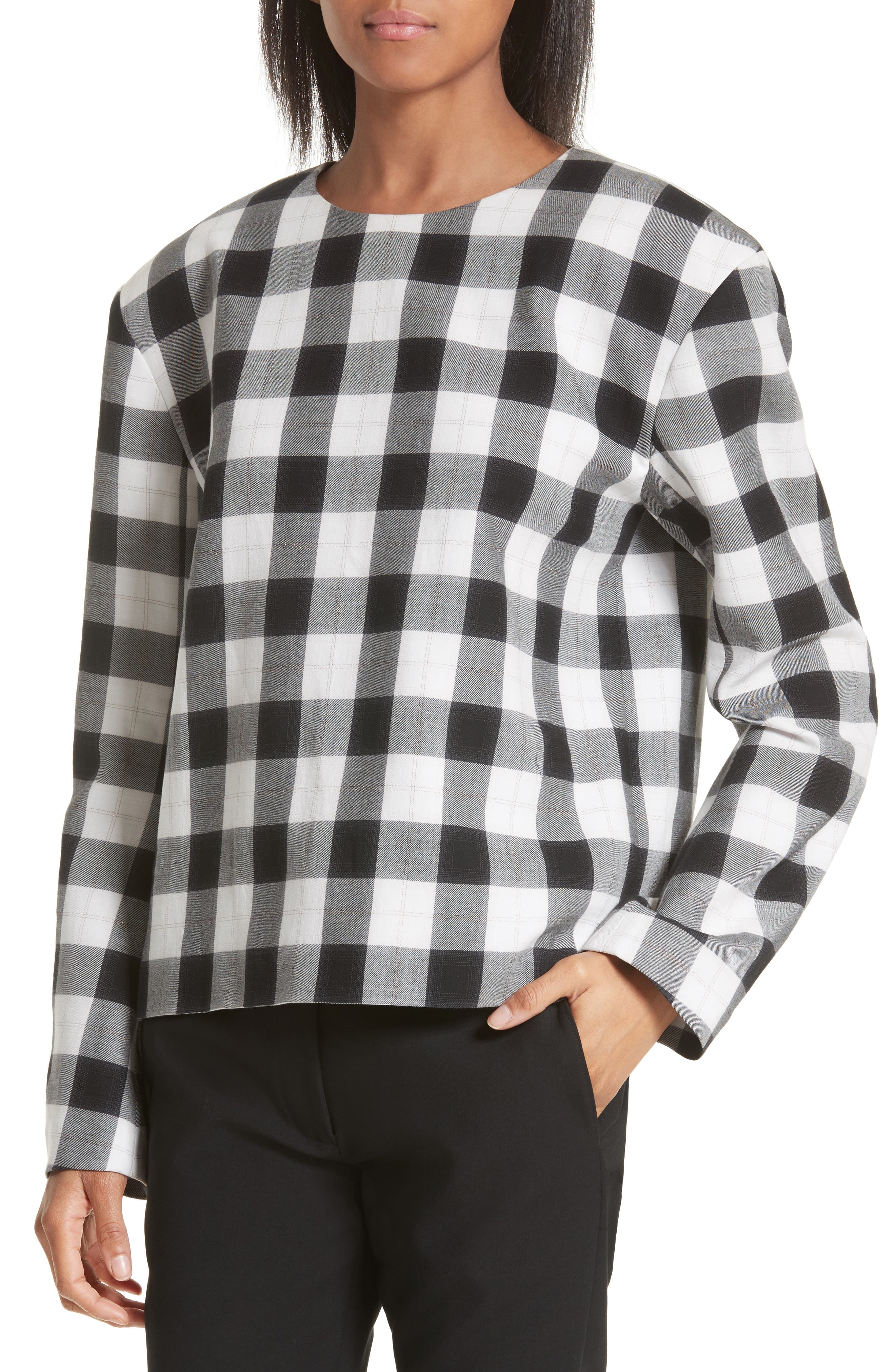 Tess Plaid Top with Detachable Collar,                             Alternate thumbnail 4, color,                             001