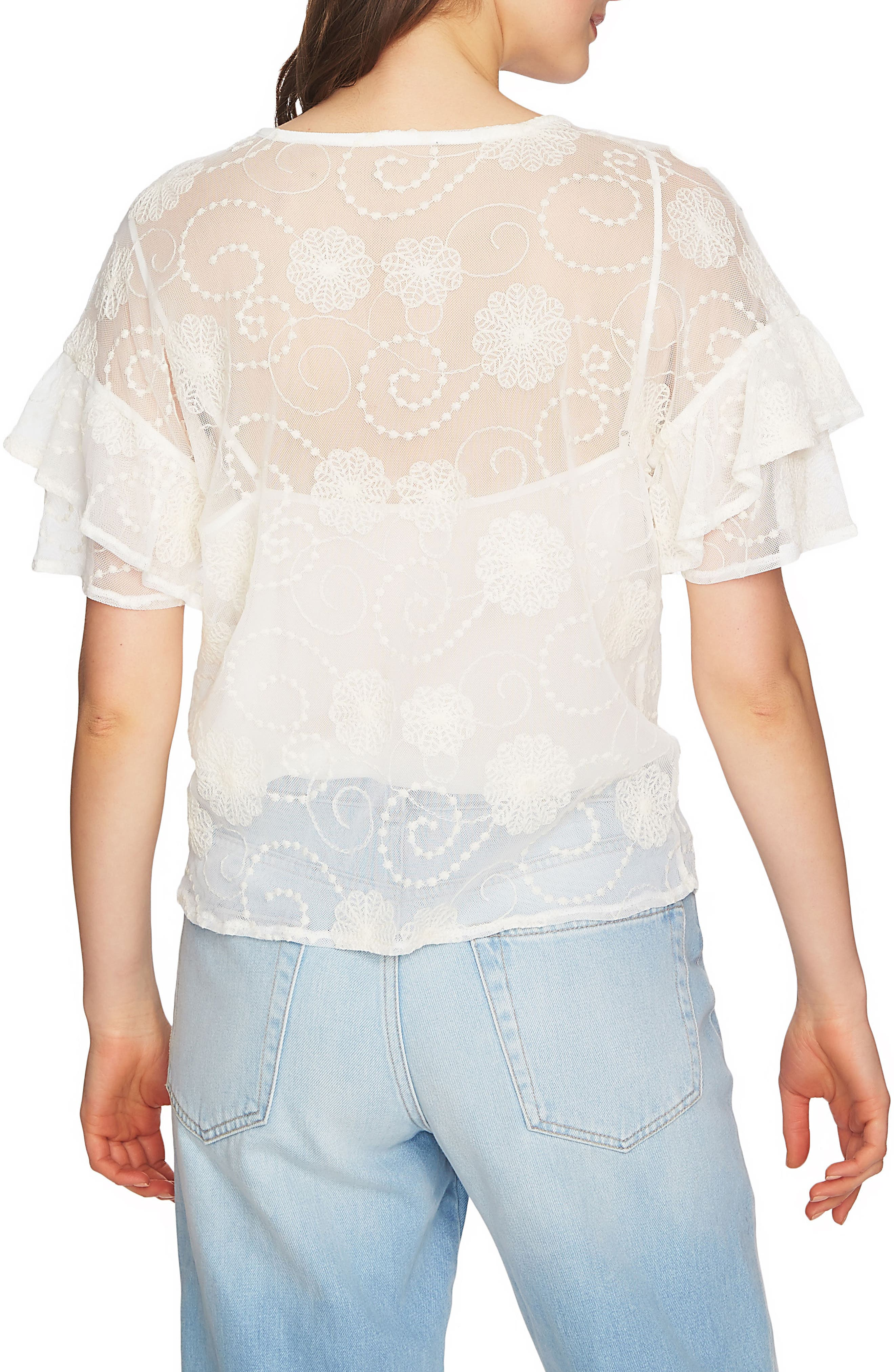 Embroidered Ruffle Sleeve Top,                             Alternate thumbnail 6, color,