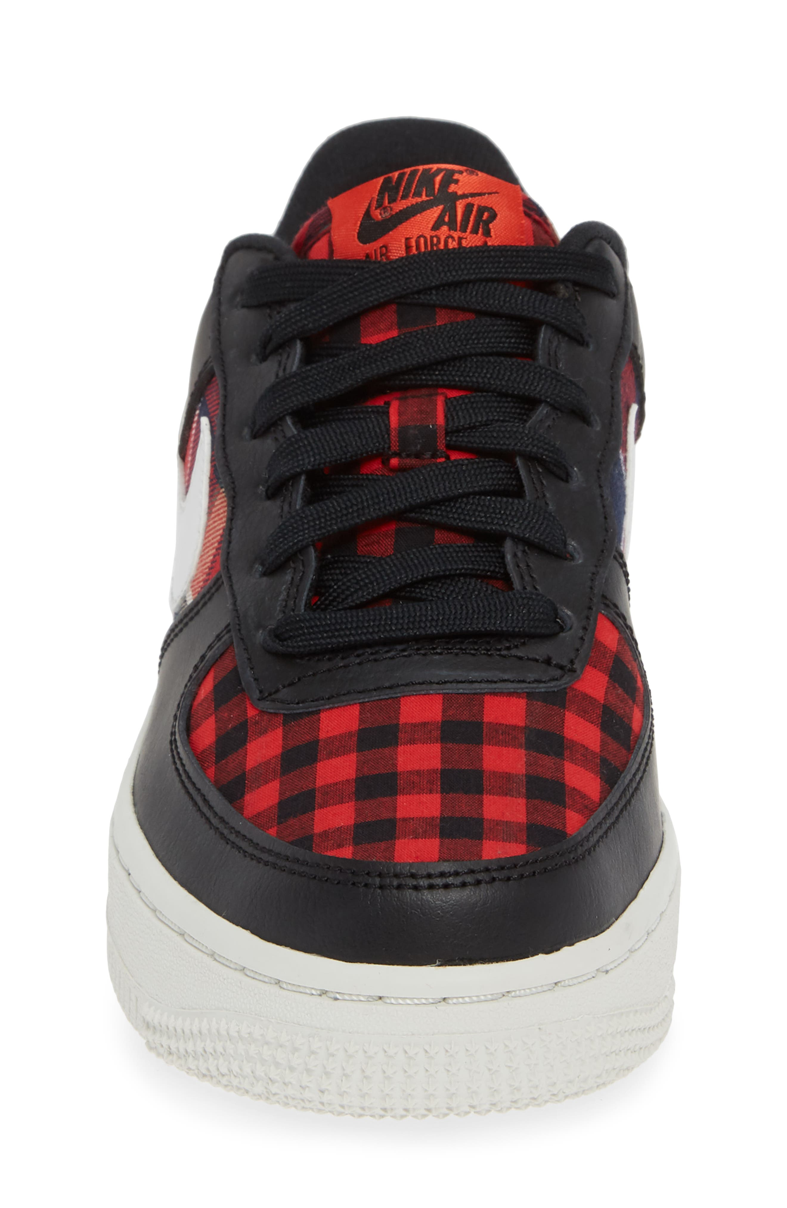 Air Force 1 LV8 Sneaker,                             Alternate thumbnail 4, color,                             BLACK/ SUMMIT RED