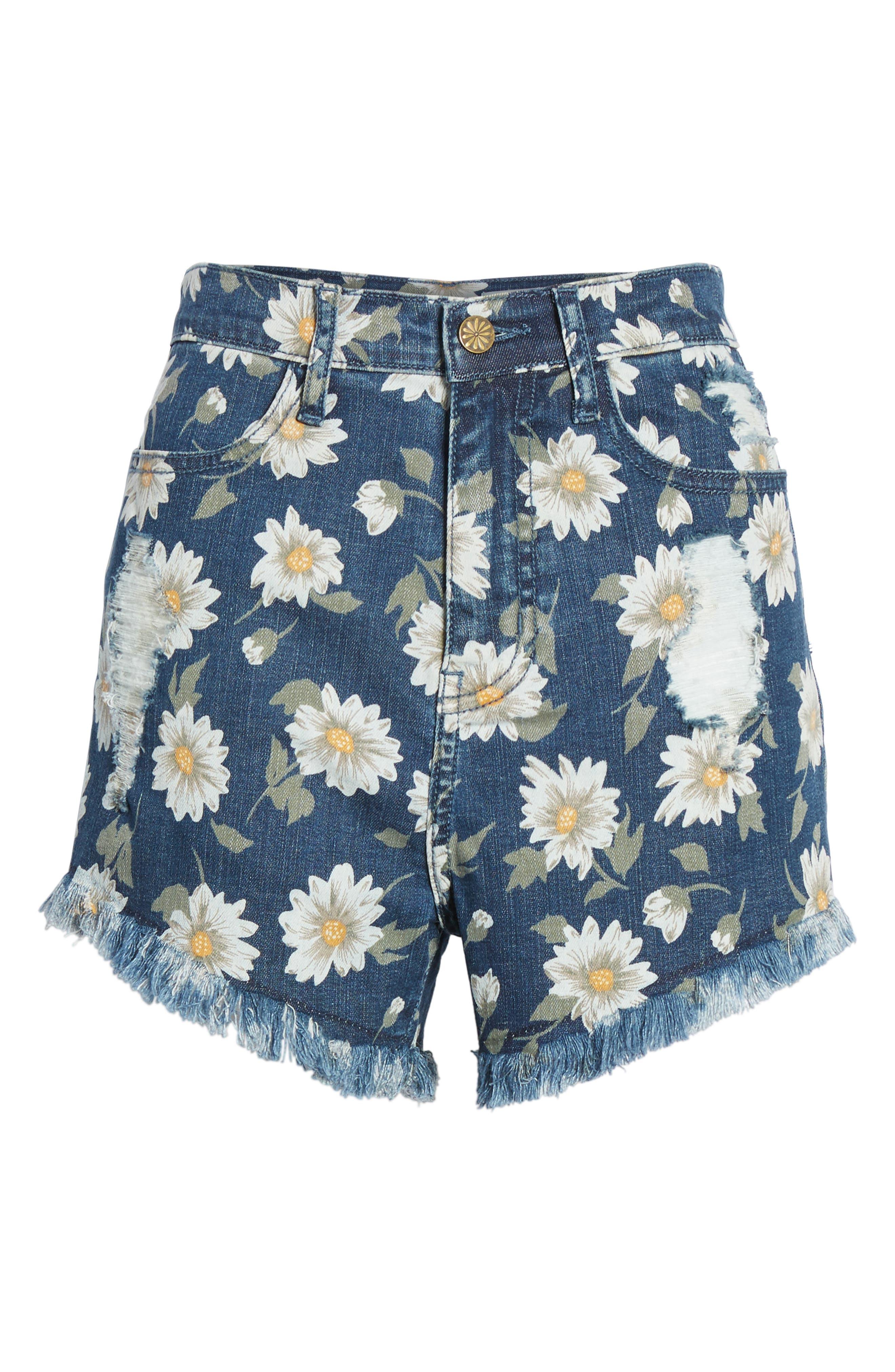 Toledo High Waist Cutoff Denim Shorts,                             Alternate thumbnail 4, color,                             400