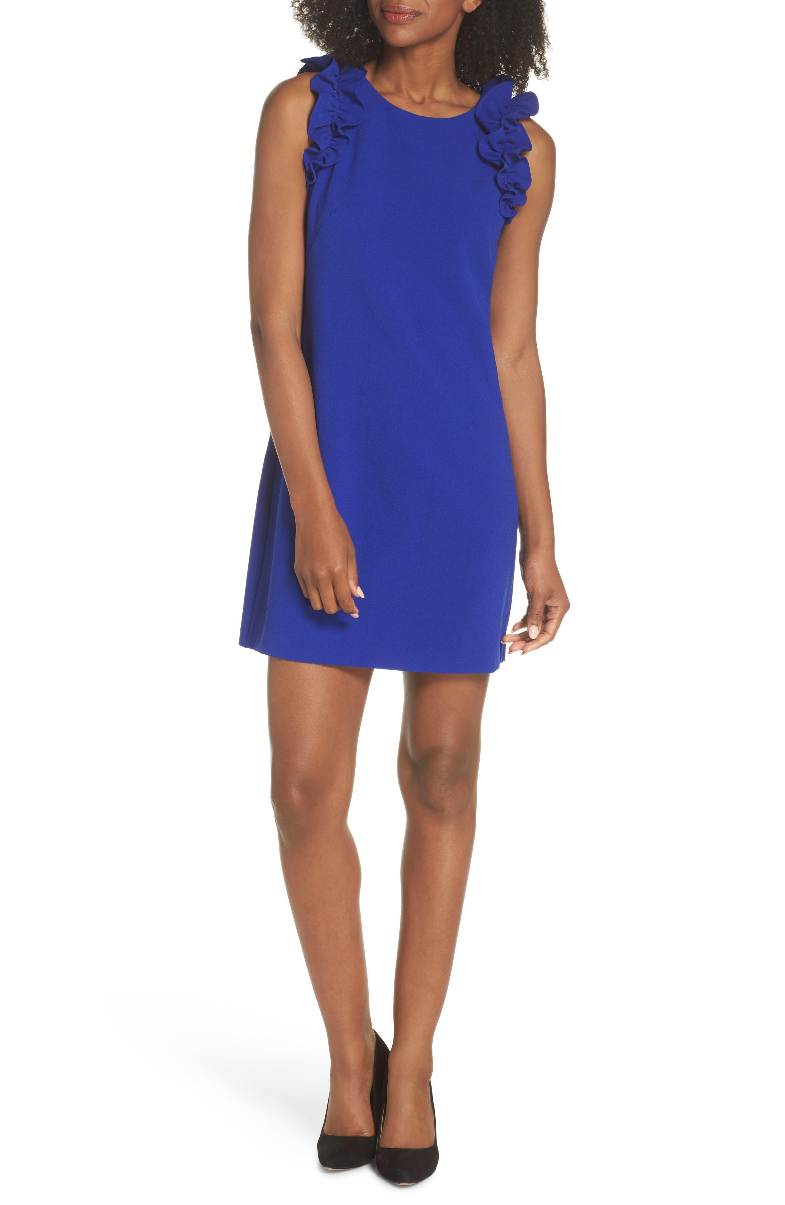 Ruffle Shoulder Crepe Shift Dress,                             Main thumbnail 2, color,