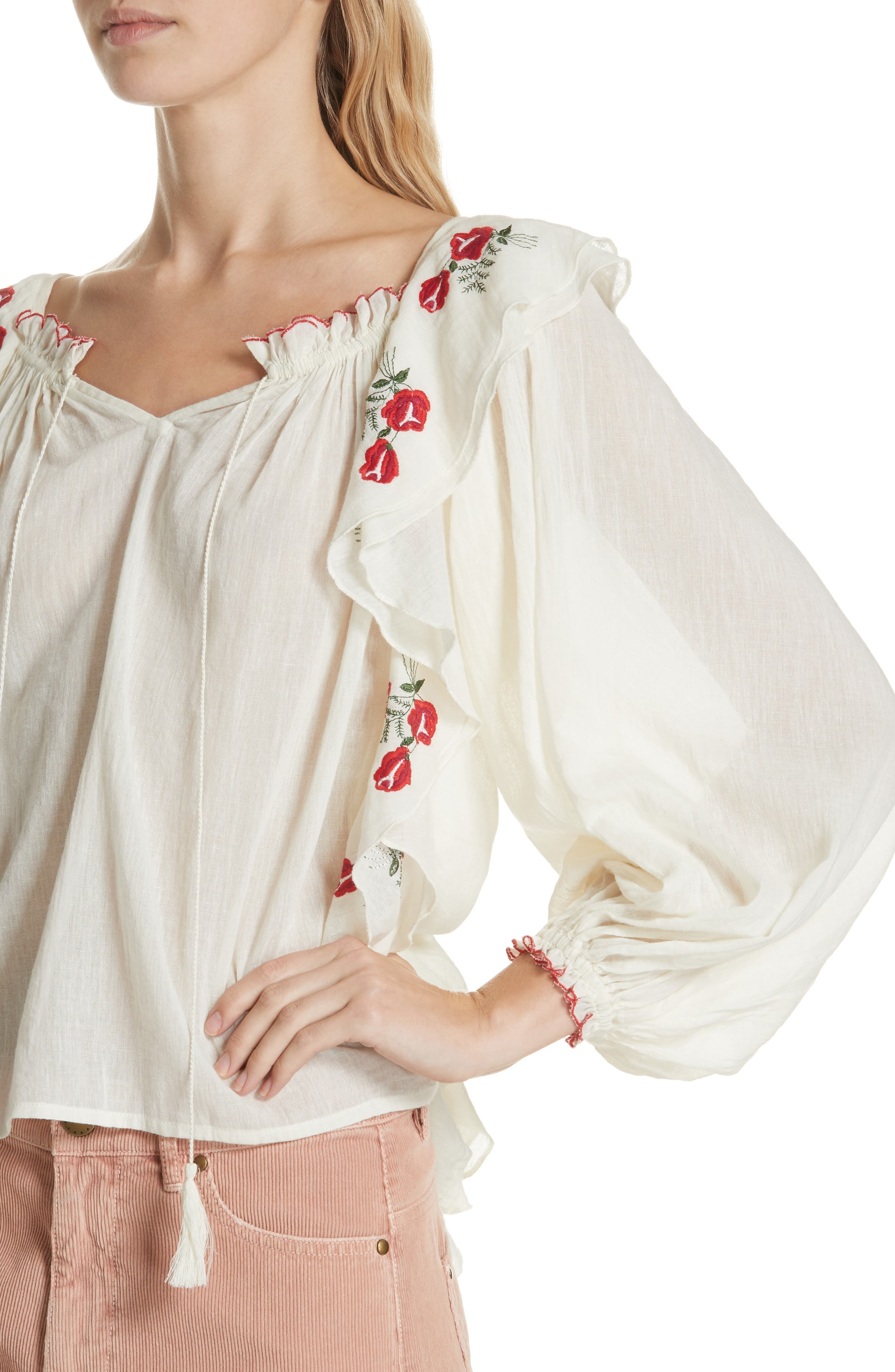 Song Embroidered Cotton Top,                             Alternate thumbnail 4, color,                             900