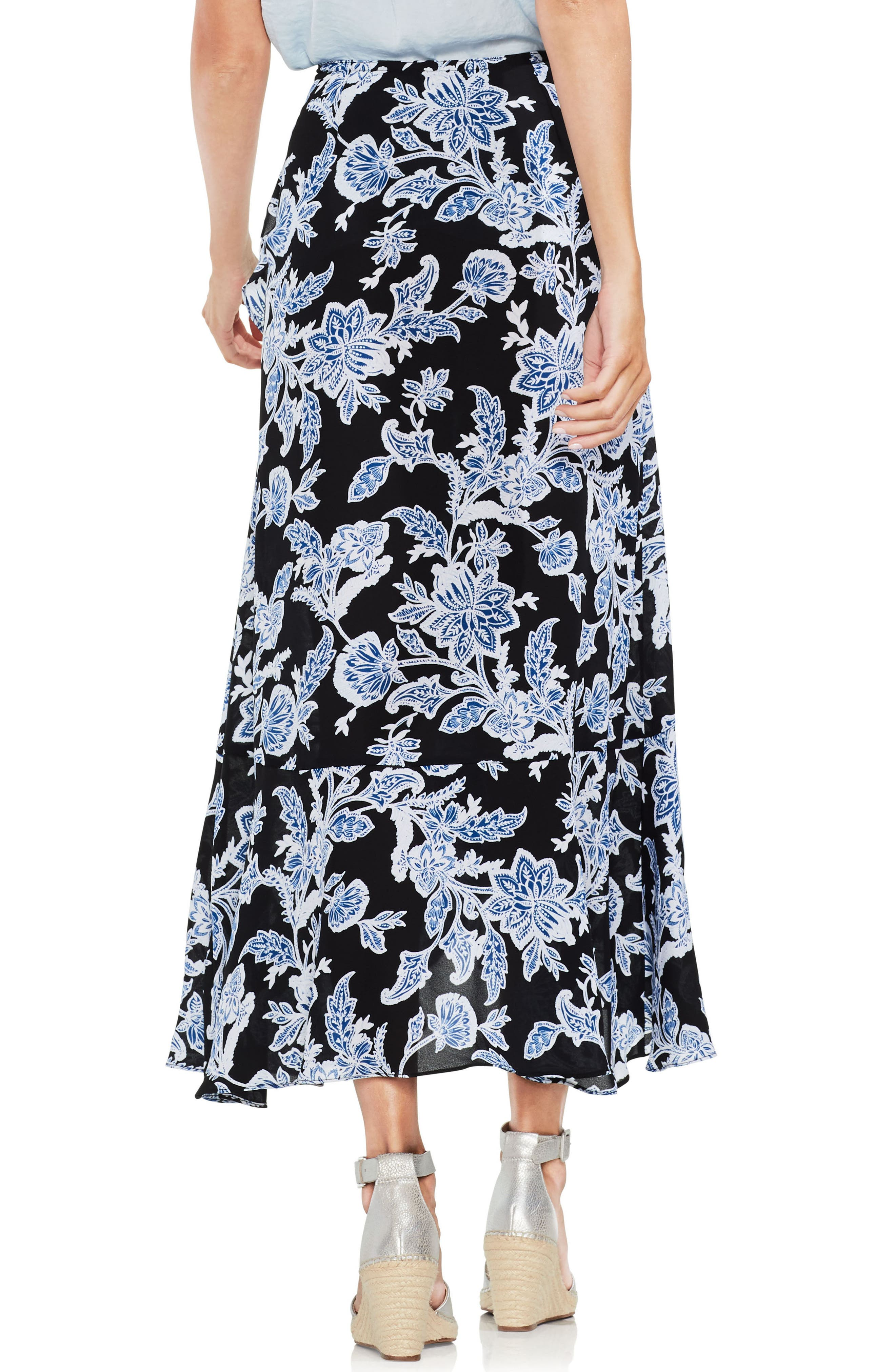 Ruffled Faux Wrap Floral Skirt,                             Alternate thumbnail 2, color,                             001