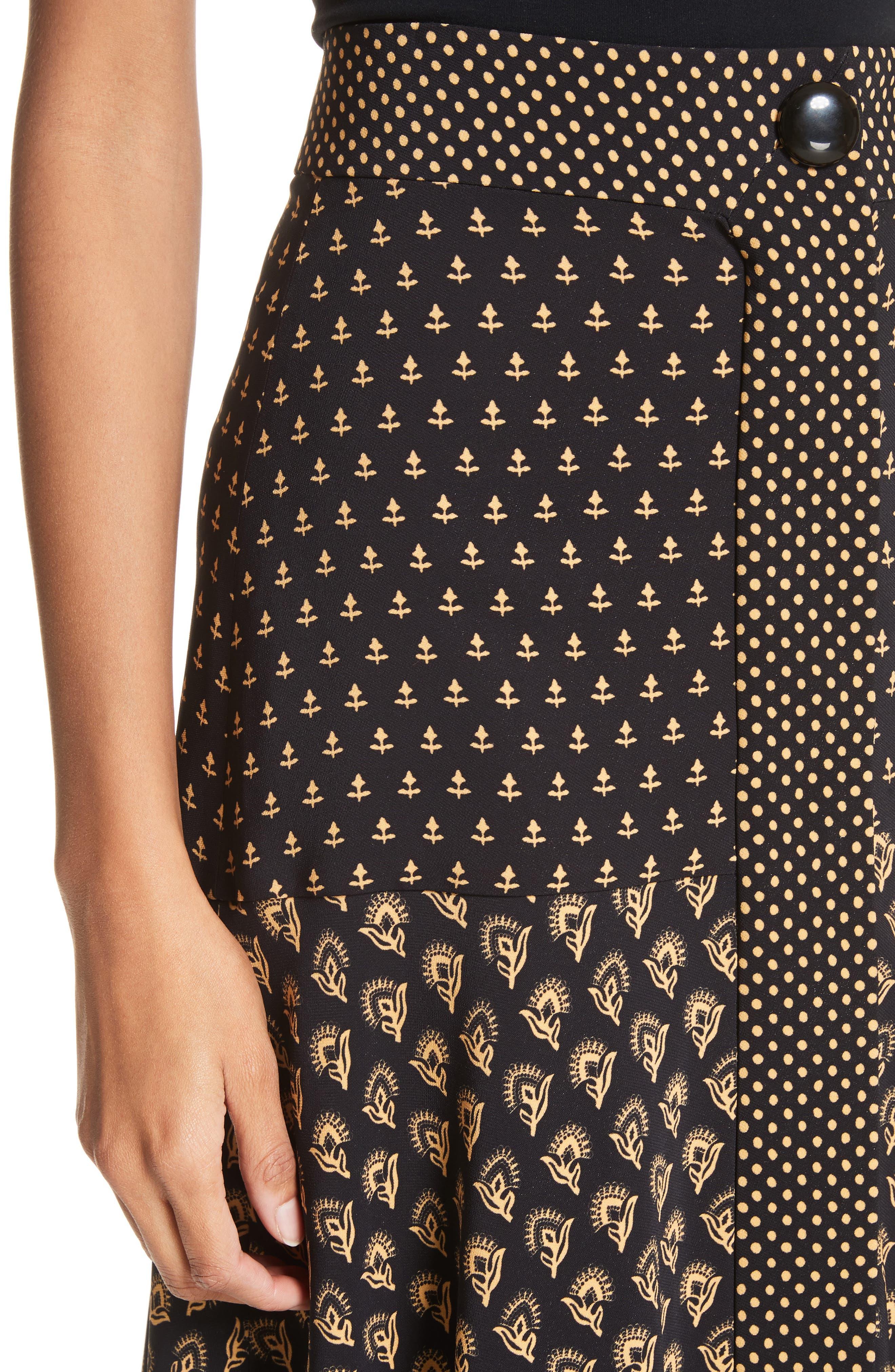 Mixed Print Crepe Midi Skirt,                             Alternate thumbnail 4, color,                             BLACK/ TAN FLOWER