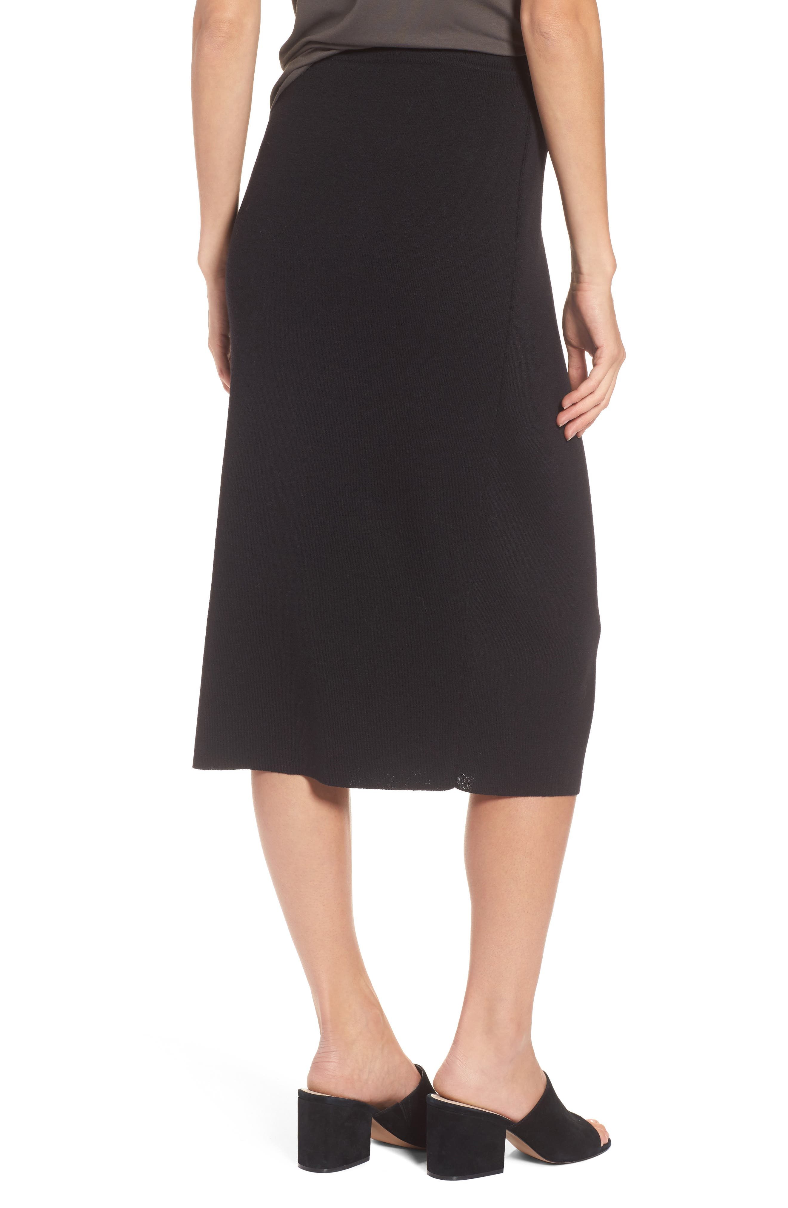 Wool Knit Pencil Skirt,                             Alternate thumbnail 2, color,                             001