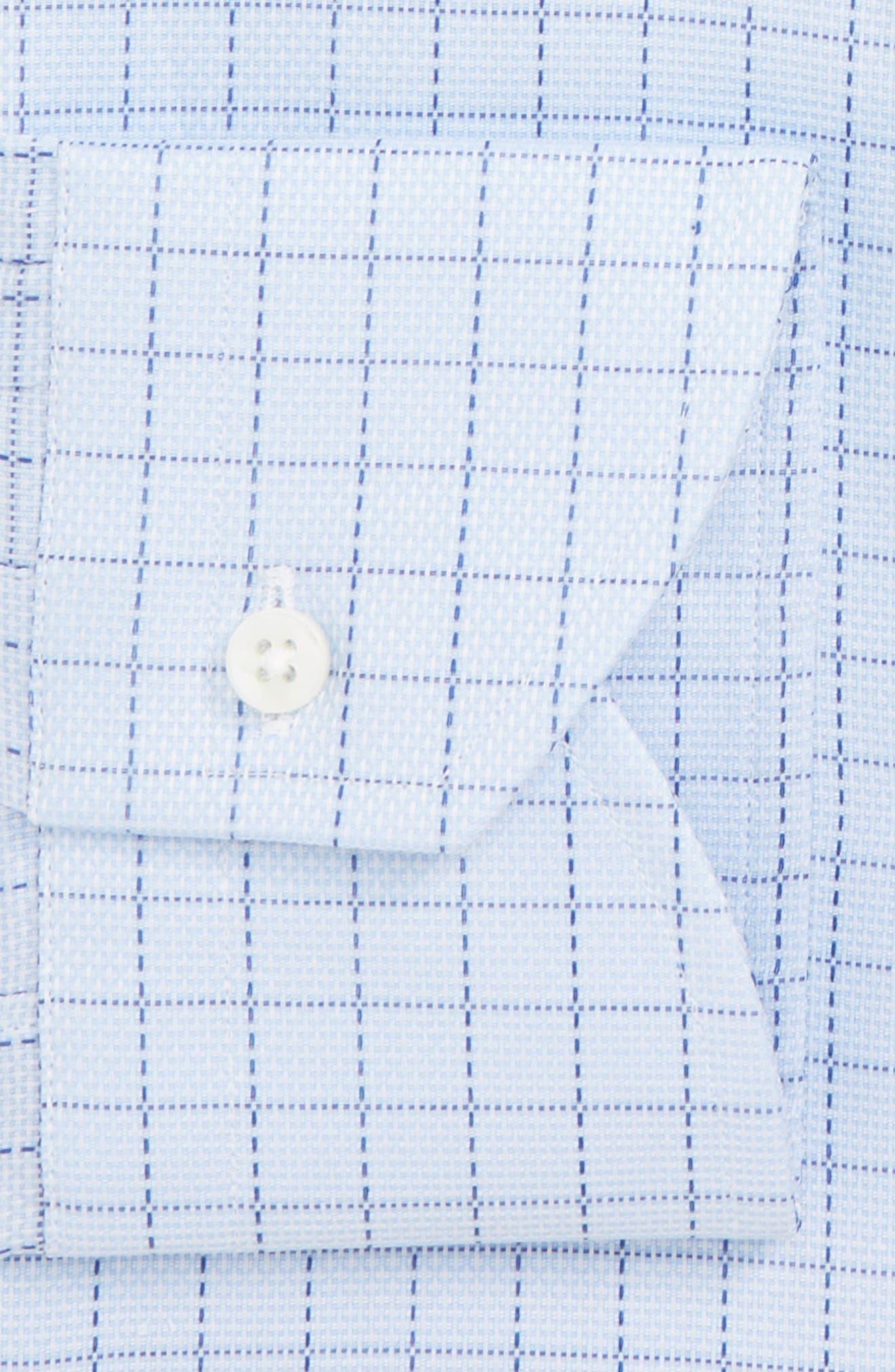 Trim Fit Check Dress Shirt,                             Alternate thumbnail 7, color,                             LIGHT BLUE