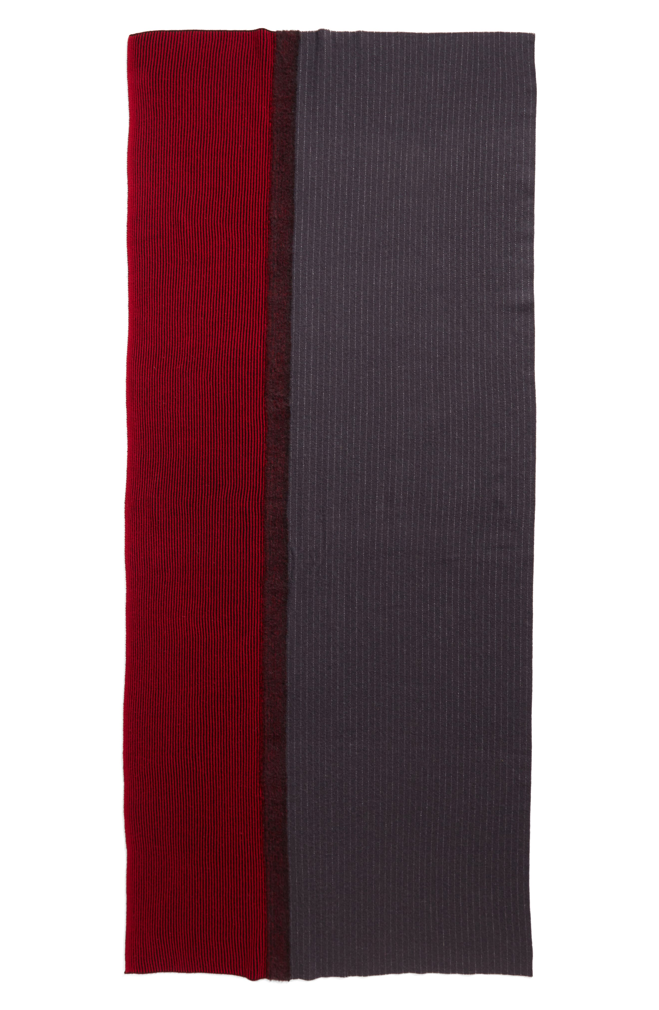 Pinstripe Wool & Cashmere Scarf,                             Alternate thumbnail 3, color,                             400