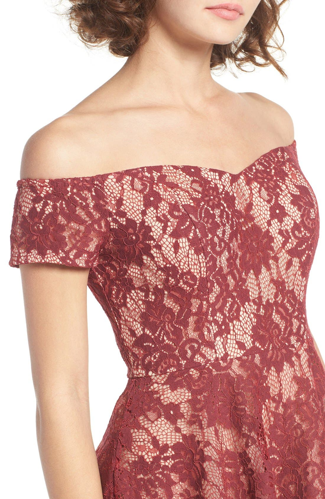 Lace Off the Shoulder Fit & Flare Dress,                             Alternate thumbnail 33, color,