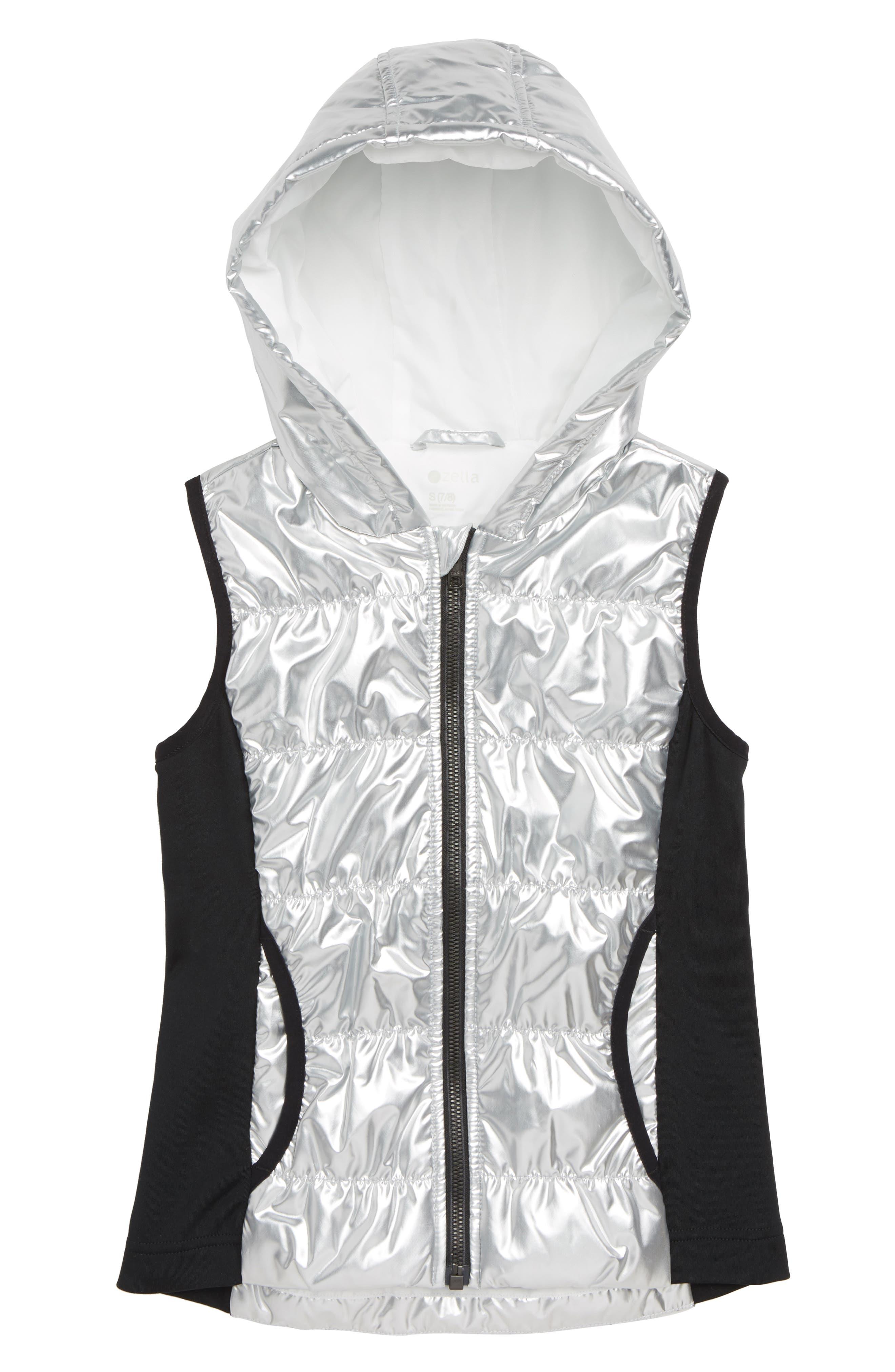 ZELLA GIRL Zella Shine Quilted Hooded Vest, Main, color, METALLIC SILVER